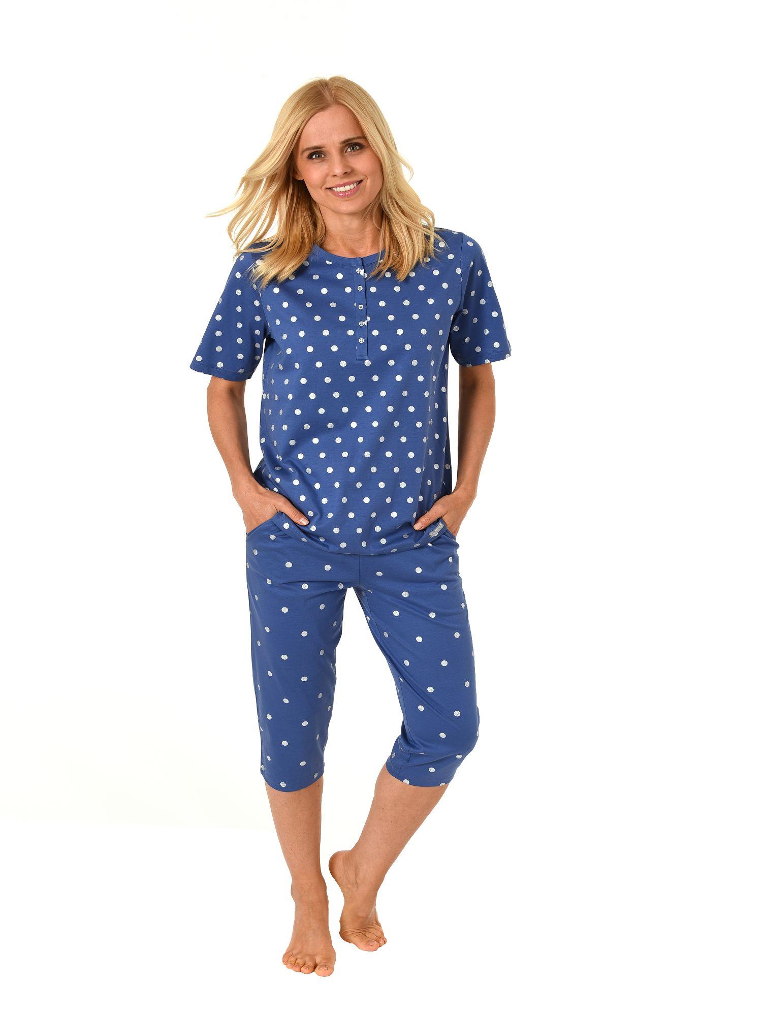 Damen Capri Pyjama 7/8-lange Hose und kurzarm Oberteil Tupfen Design 181 204 90 102