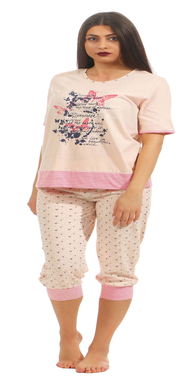 Normann Damen Capri Pyjama kurzarm mit ¾ langer Hose auch in Übergrössen 204 90 212 – Bild 2