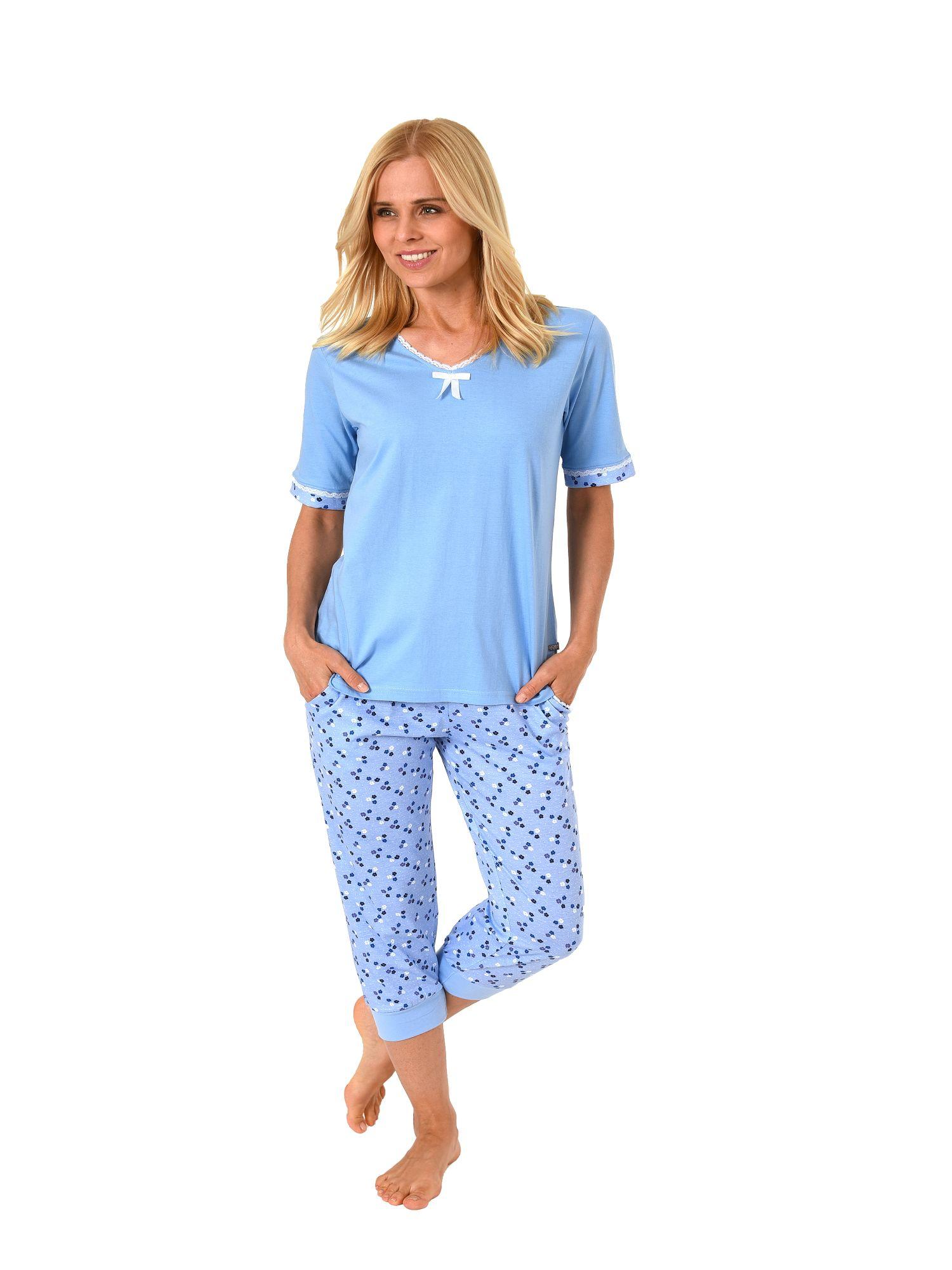 Damen Capri Schlafanzug Pyjama kurzarm mit Spitze und ¾ langer Caprihose 181 204 90 214
