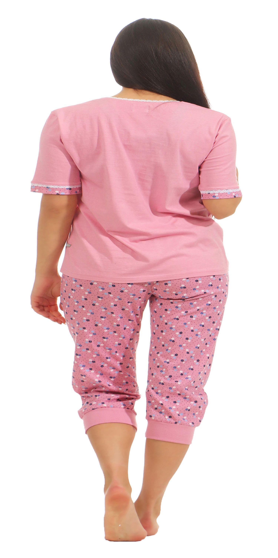 Damen Capri Schlafanzug Pyjama kurzarm mit Spitze und ¾ langer Caprihose 181 204 90 214 – Bild 4