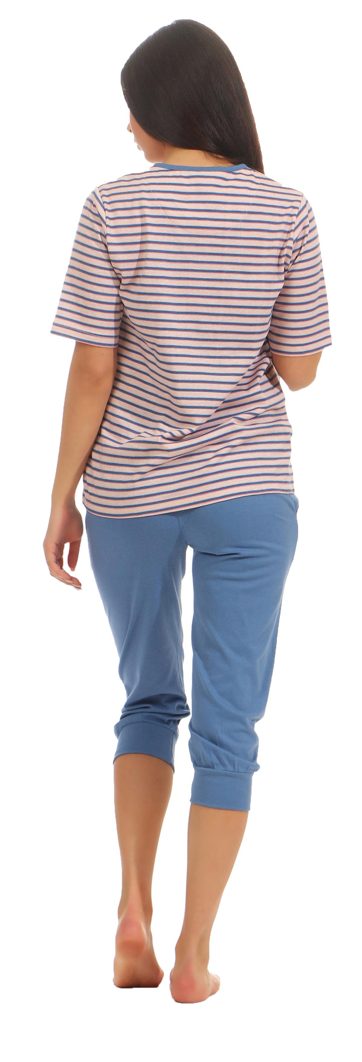 Damen Capri Pyjama Schlafanzug kurzarm in einer tollen  Streifen Optik 181 204 90 224 – Bild 4
