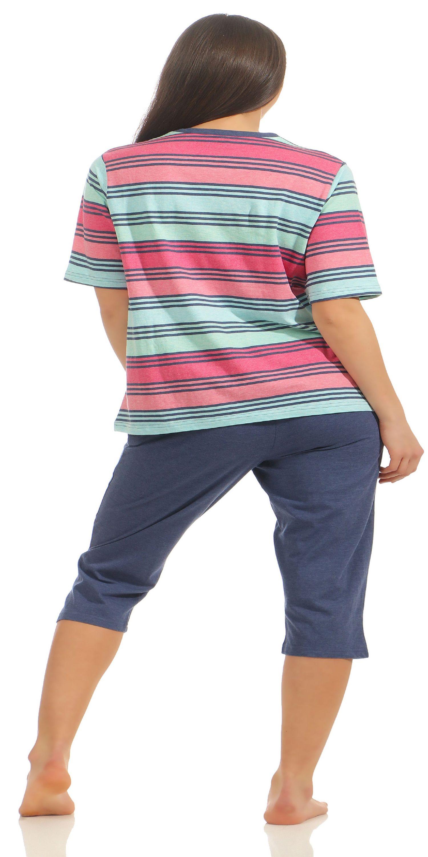 Damen Capri Pyjama kurzarm in Streifenoptik von NORMANN  181 204 90 228 – Bild 4
