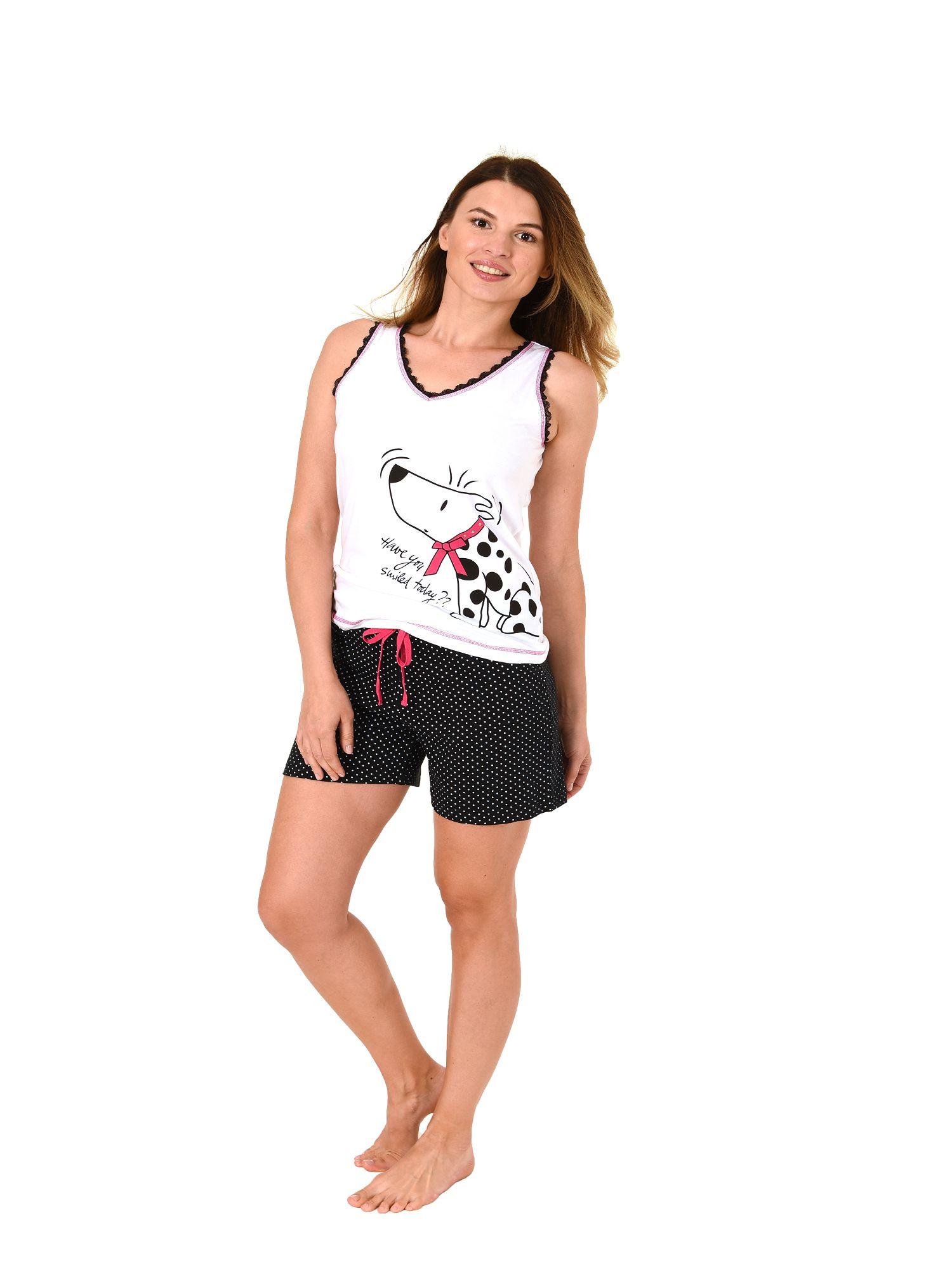 Damen Achselhemd Shorty Pyjama Tanktop mit Hundemotiv und Tupfen – auch in Übergrössen  – Bild 2
