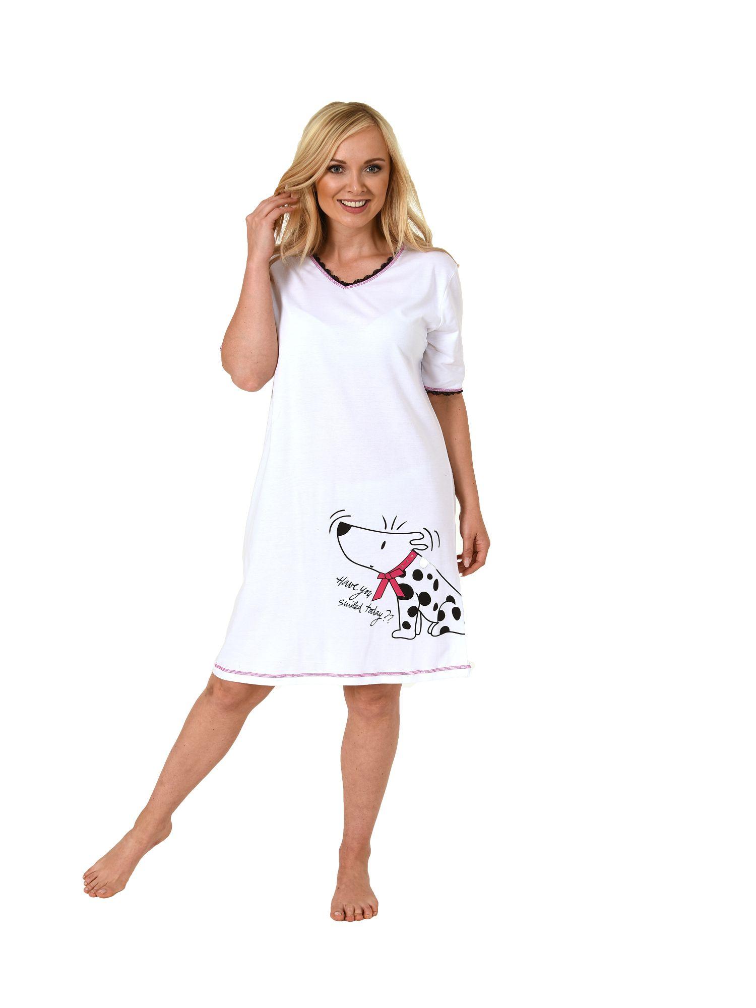 914316326b05de Normann Damen Nachthemd kurzarm Bigshirt mit Hundemotiv, auch in Übergrössen  213 90 001 – Bild