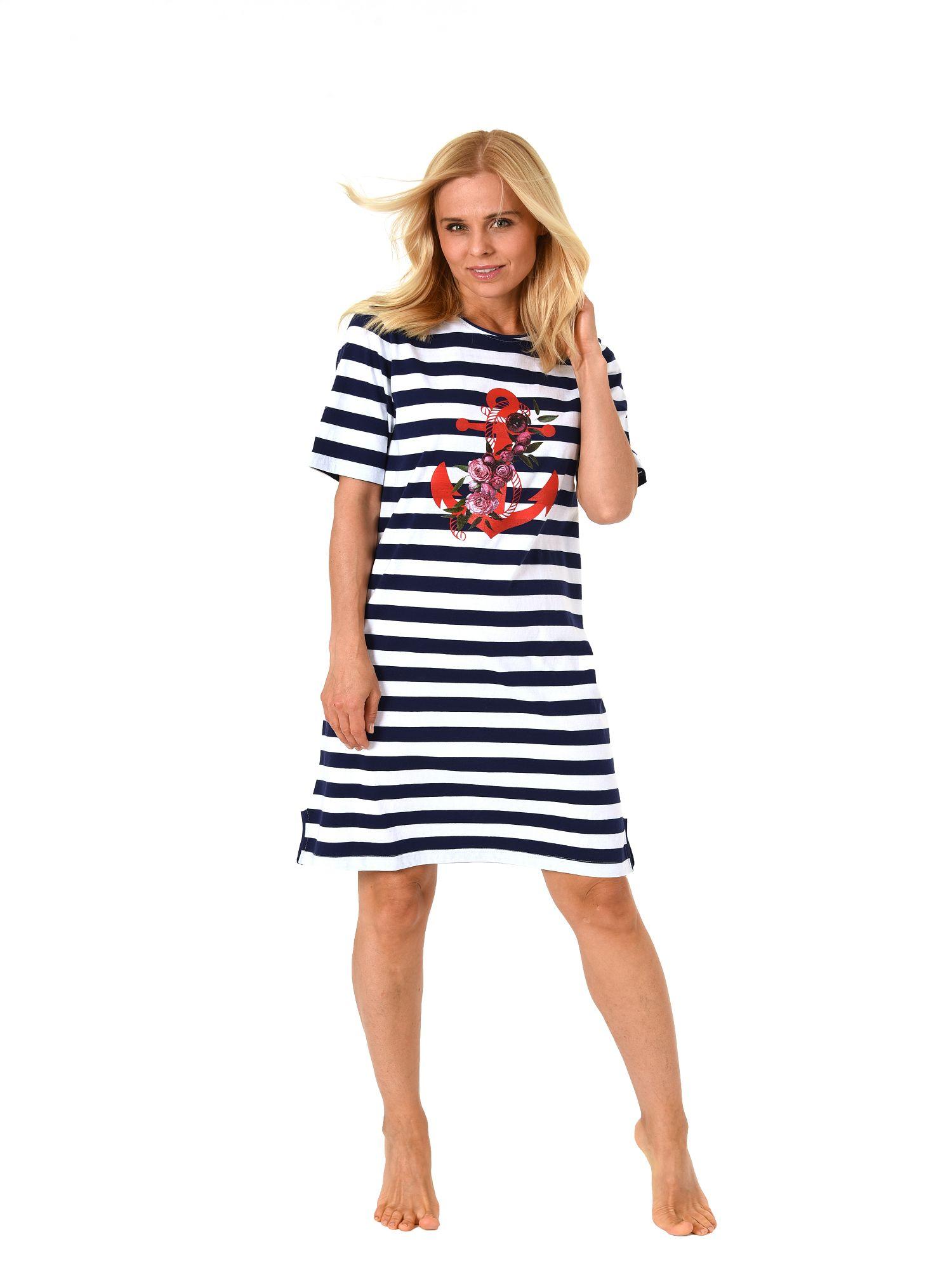 size 40 9172c f5b30 Normann Damen Nachthemd kurzarm maritime Optik und Anker Motiv 181 214 90  868