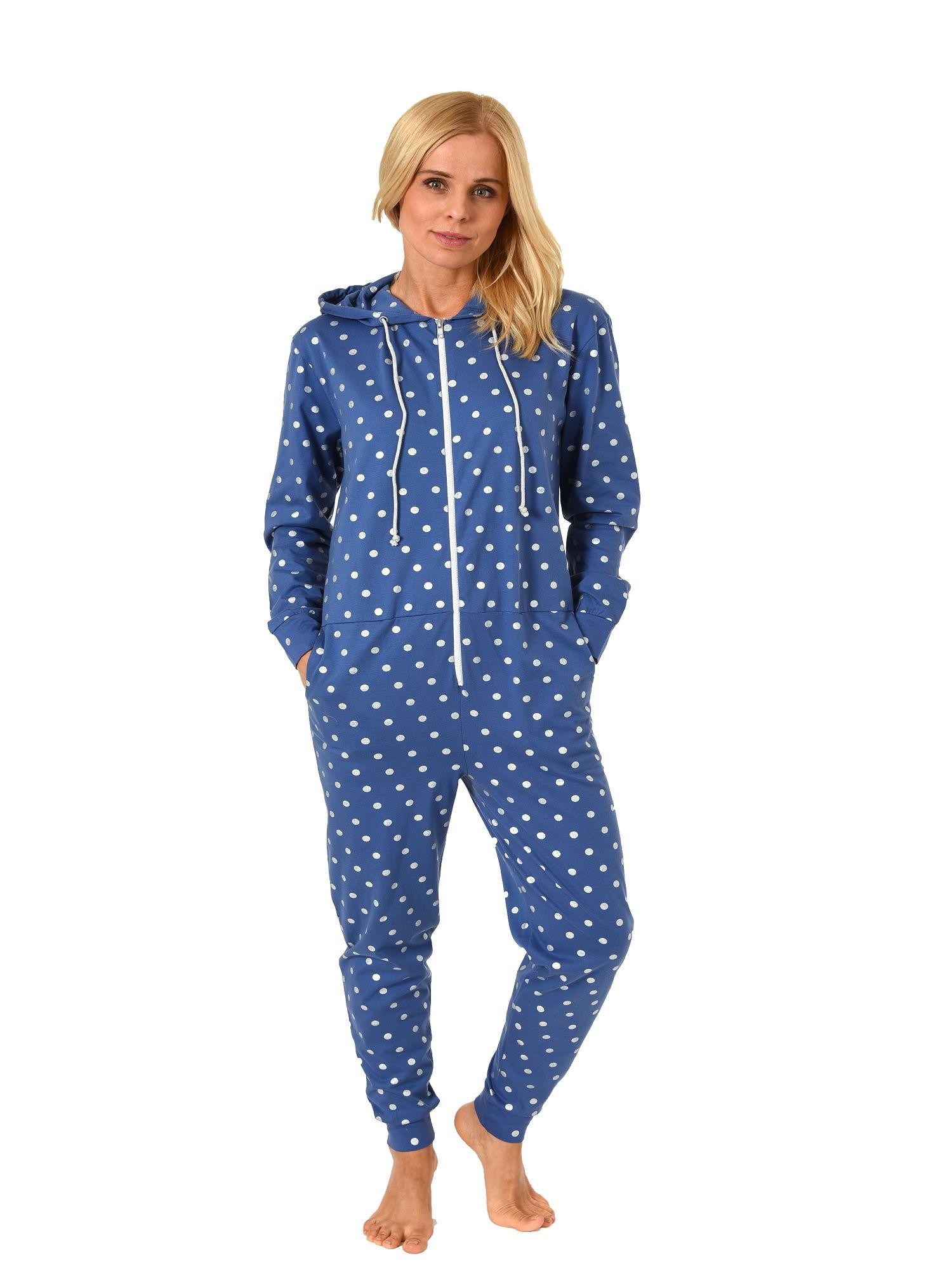 promo code 6d390 ddc83 Normann Damen Schlafanzug Einteiler Jumpsuit Overall langarm Tupfendesign  181 267 90 102