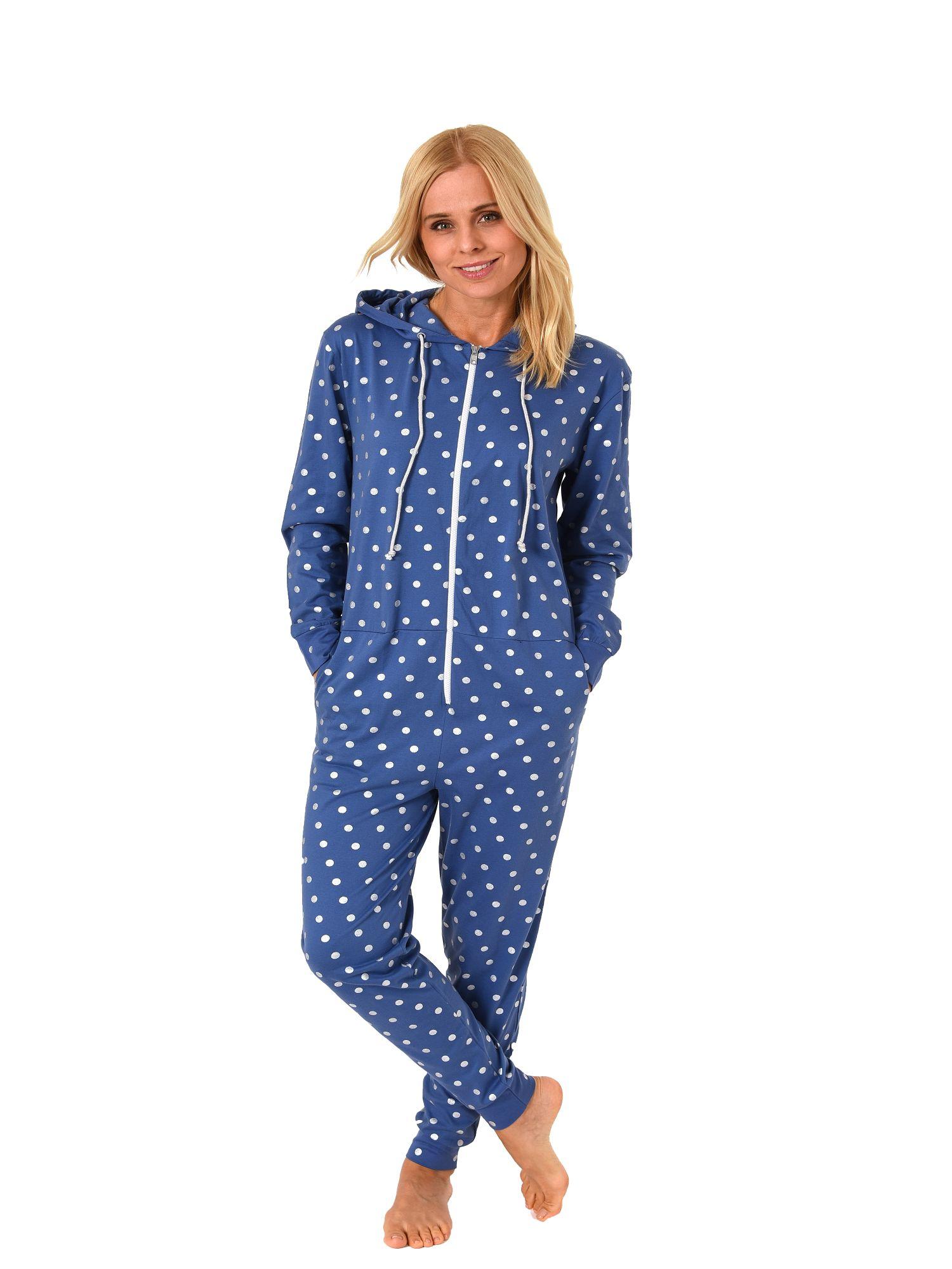 Normann Damen Schlafanzug Einteiler Jumpsuit Overall langarm Tupfendesign 181 267 90 102 – Bild 2
