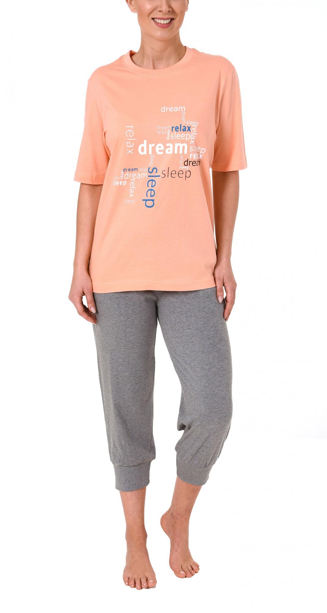 Damen Capri Pyjama 7/8-lange Hose und kurzarm Oberteil – 60657 – Bild 2