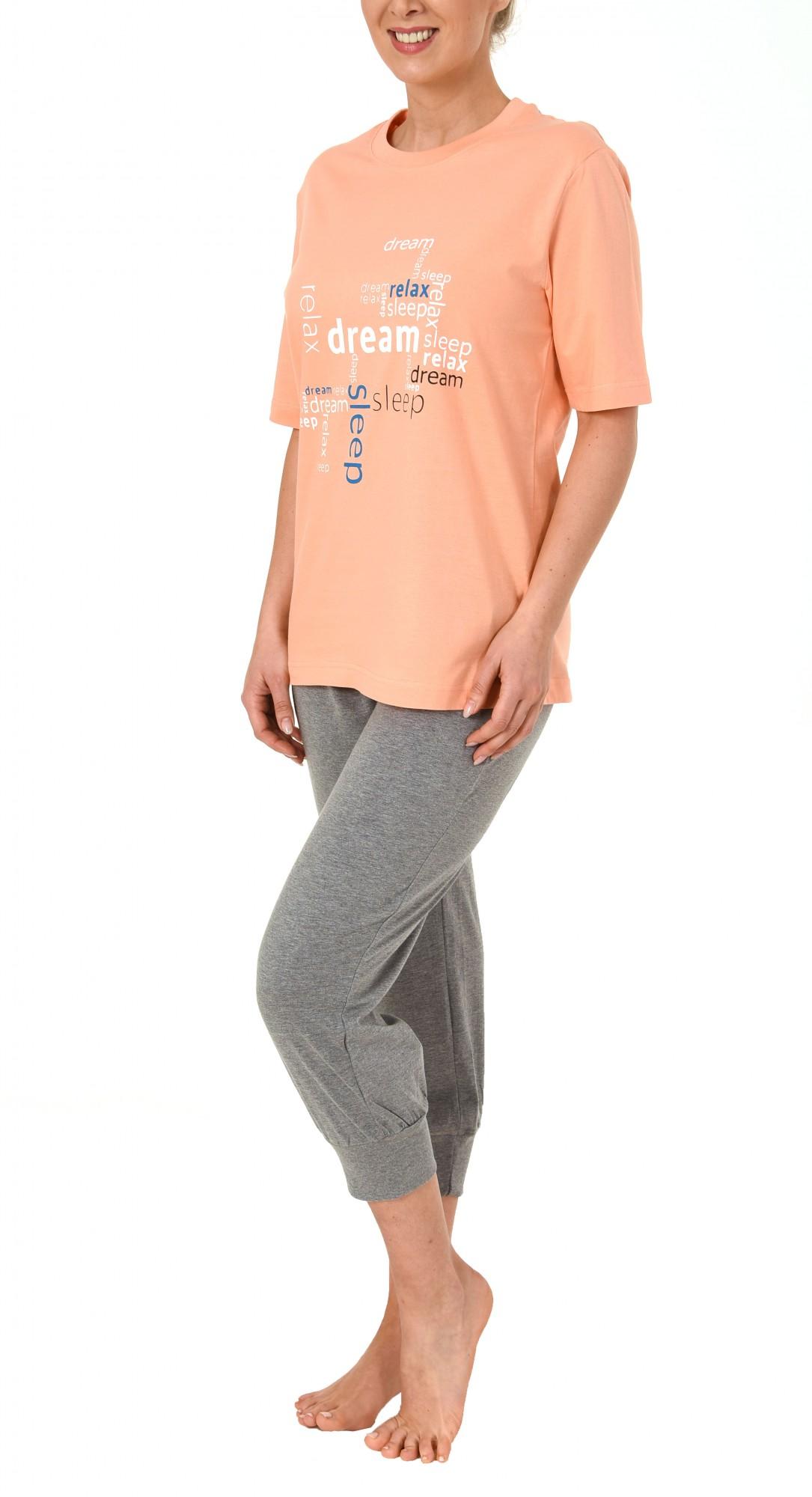 Damen Capri Pyjama 7/8-lange Hose und kurzarm Oberteil – 60657 – Bild 3