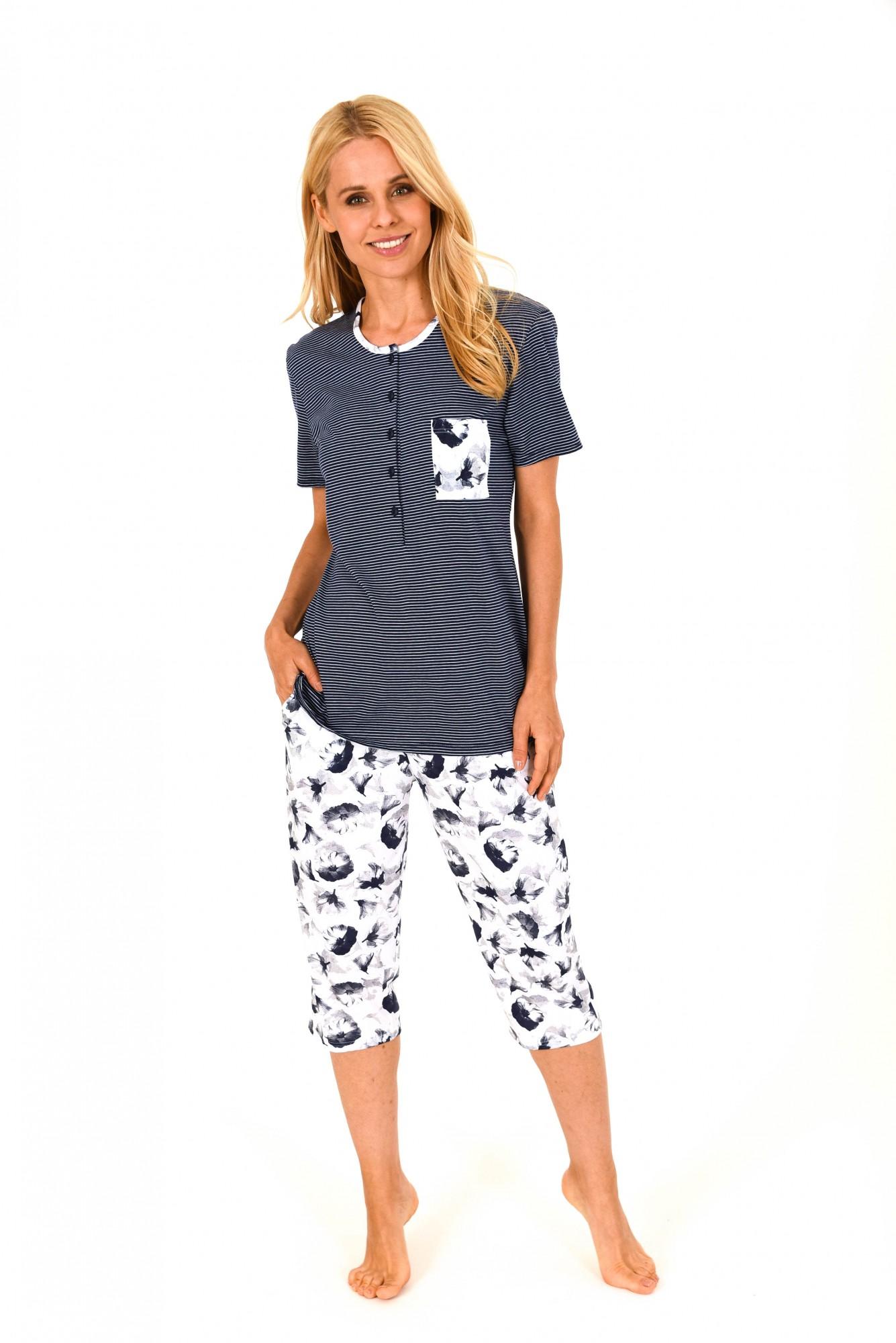 Damen Capri Pyjama kurzarm – tolle Optik – 60756 – Bild 1