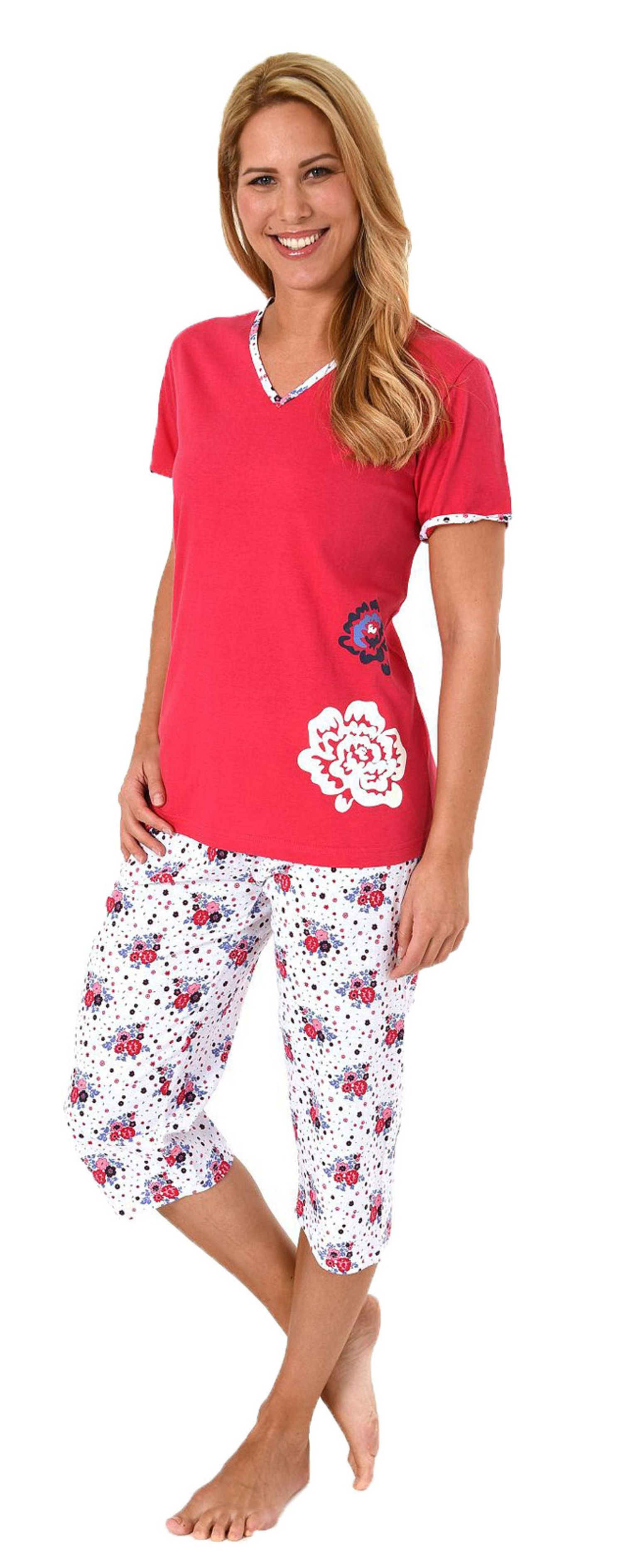 Damen Capri Pyjama kurzarm Schlafanzug mit 3/4-langer Hose, Blume als Motivprint – 60848