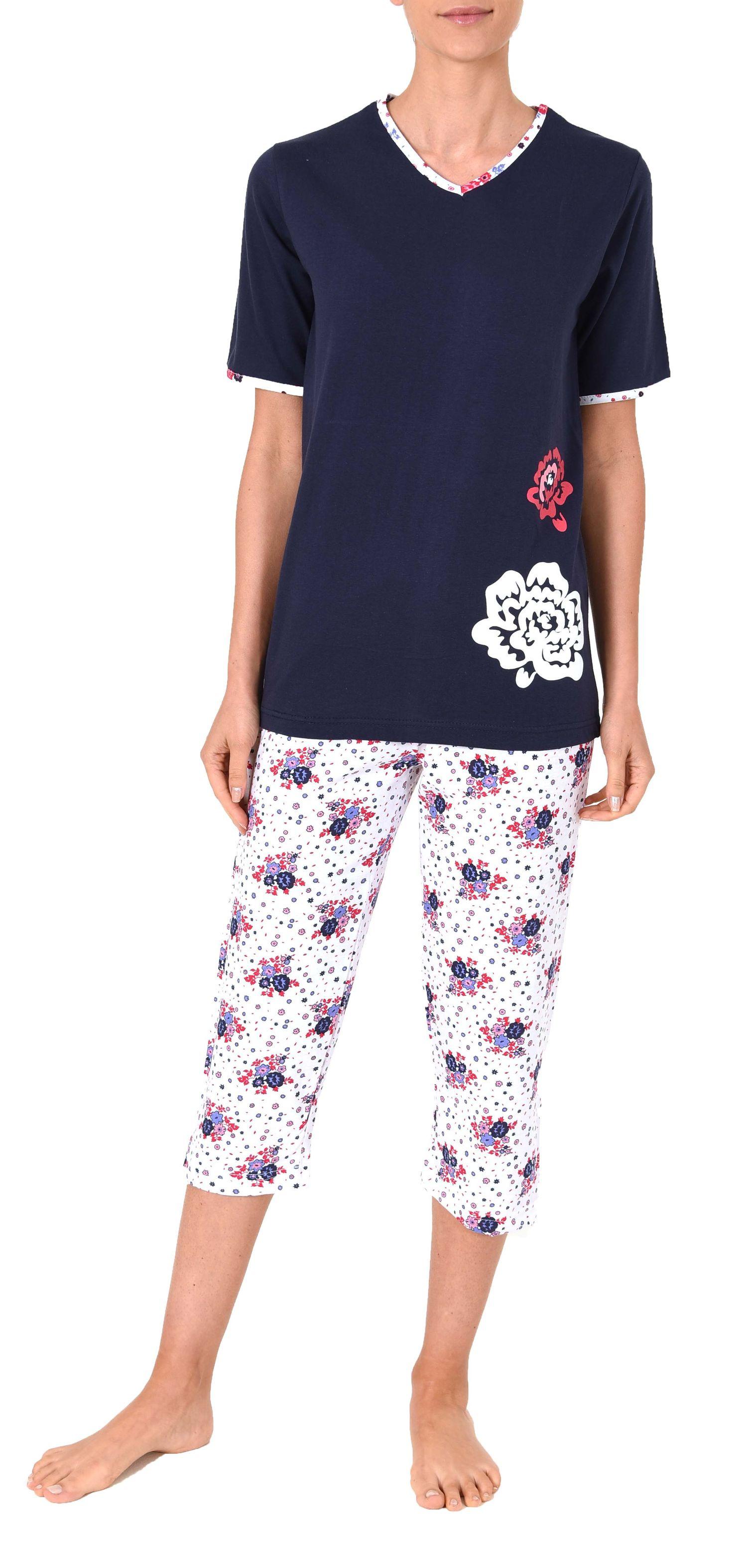 Damen Capri Pyjama kurzarm Schlafanzug mit 3/4-langer Hose, Blume als Motivprint – 60848 – Bild 2