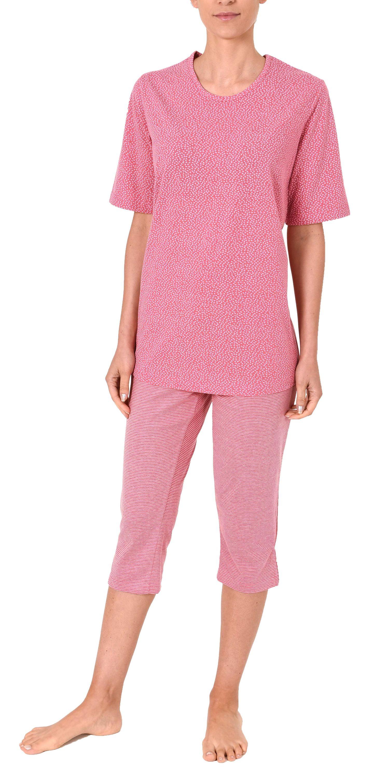 Damen Capri Pyjama kurzarm Schlafanzug mit Schmetterling Tupfen Top und Ringelhose 60681 – Bild 2
