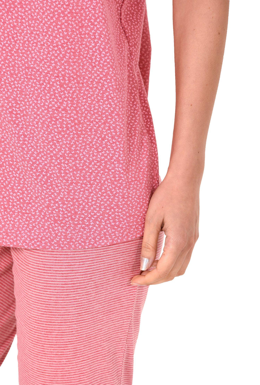 Damen Capri Pyjama kurzarm Schlafanzug mit Schmetterling Tupfen Top und Ringelhose 60681 – Bild 4