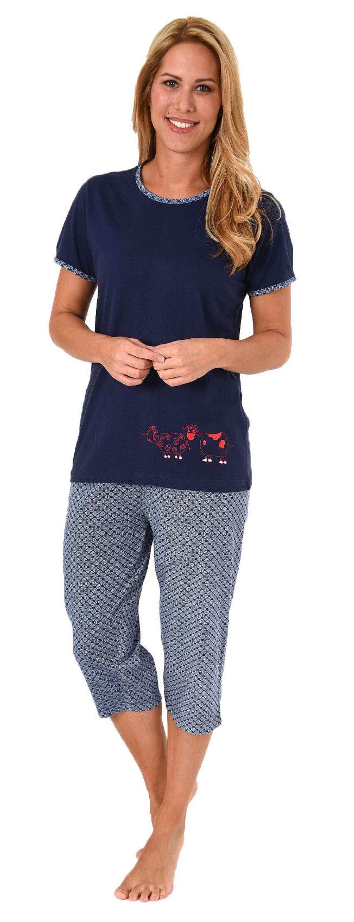 Damen Capri Pyjama kurzarm Schlafanzug mit süssen Tiermotiv - 60853