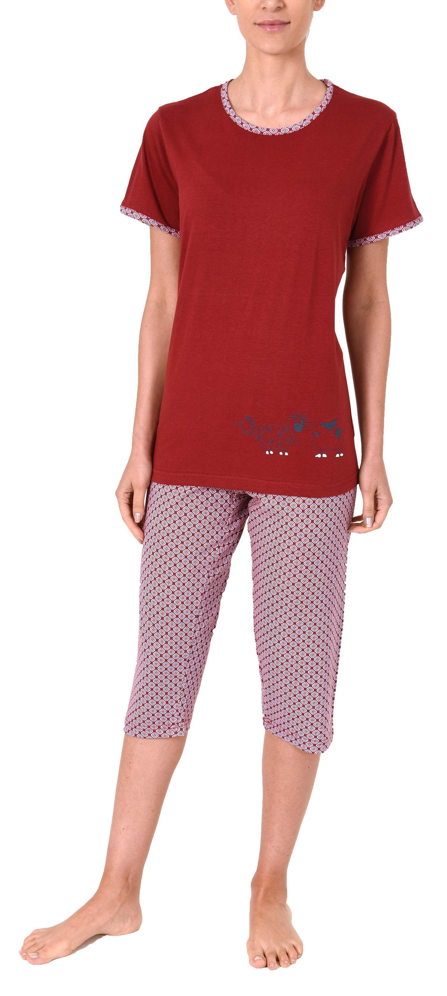 Damen Capri Pyjama kurzarm Schlafanzug mit süssen Tiermotiv - 60853 – Bild 2