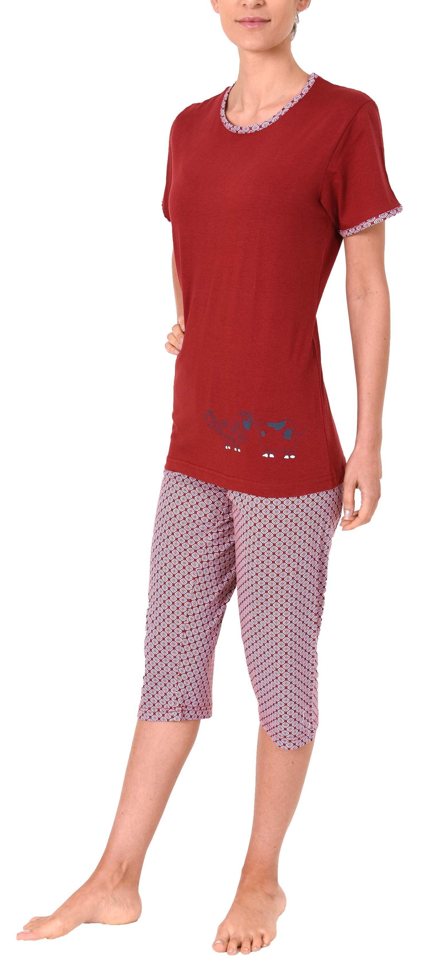Damen Capri Pyjama kurzarm Schlafanzug mit süssen Tiermotiv - 60853 – Bild 3