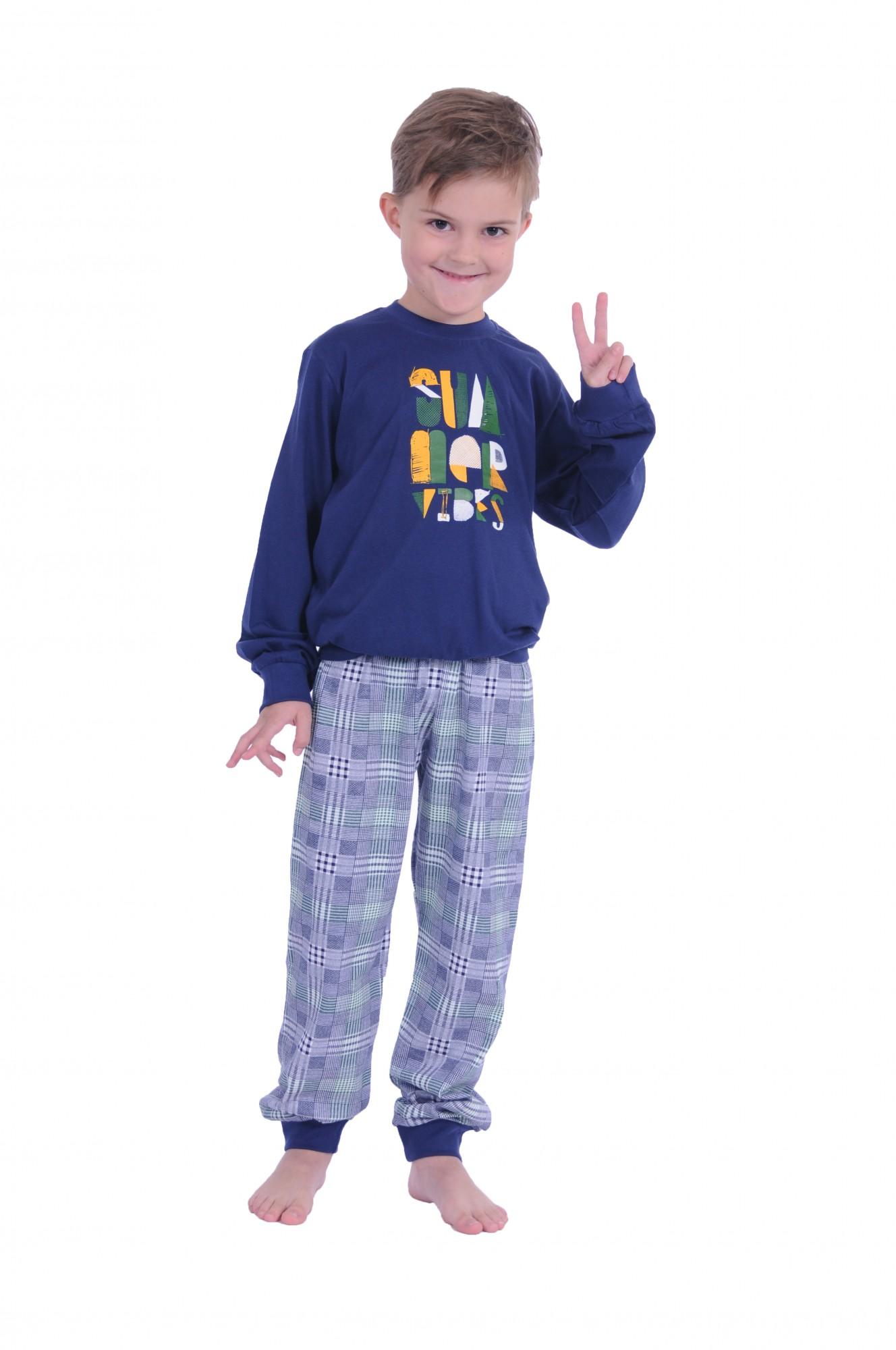 Cooler Jungen Pyjama mit Bündchen langarm und karierter Hose Mix & Match  60599 – Bild 1