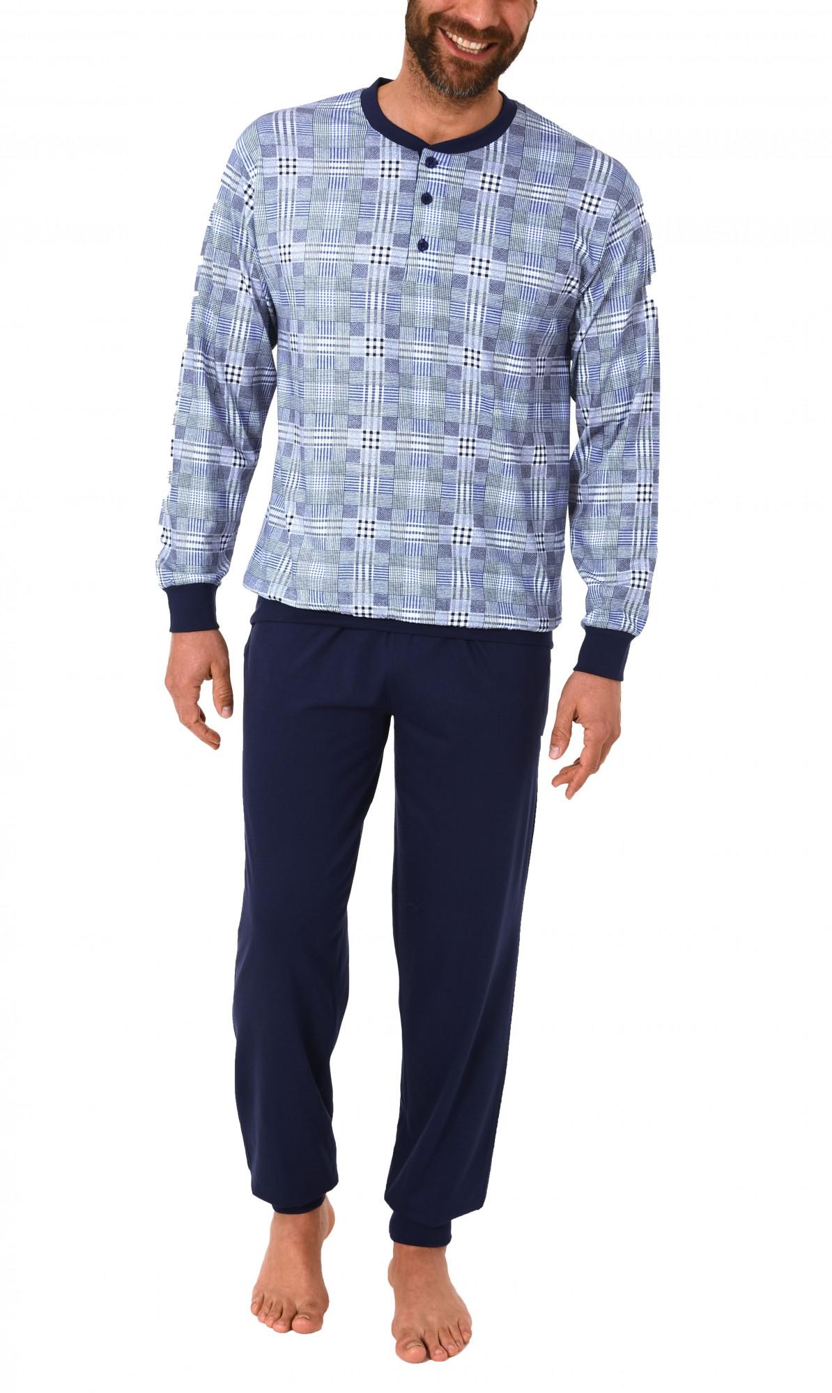 Eleganter Herren Pyjama langarm mit Bündchen Karo-Dessin 60584 – Bild 2