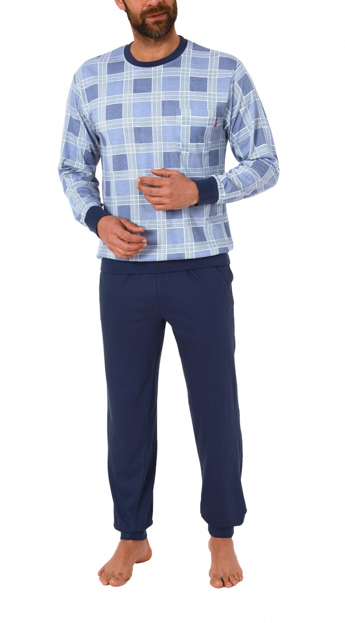 Edler Herren Pyjama langarm Schlafanzug mit Bündchen 60625 – Bild 2