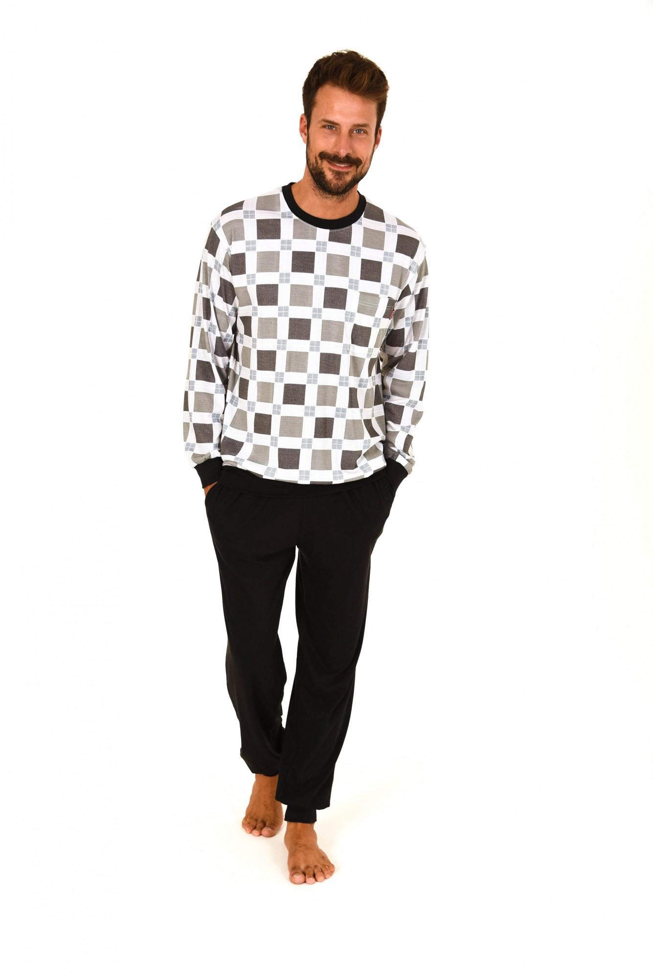 Edler Herren Pyjama langarm Schlafanzug mit Bündchen 60625
