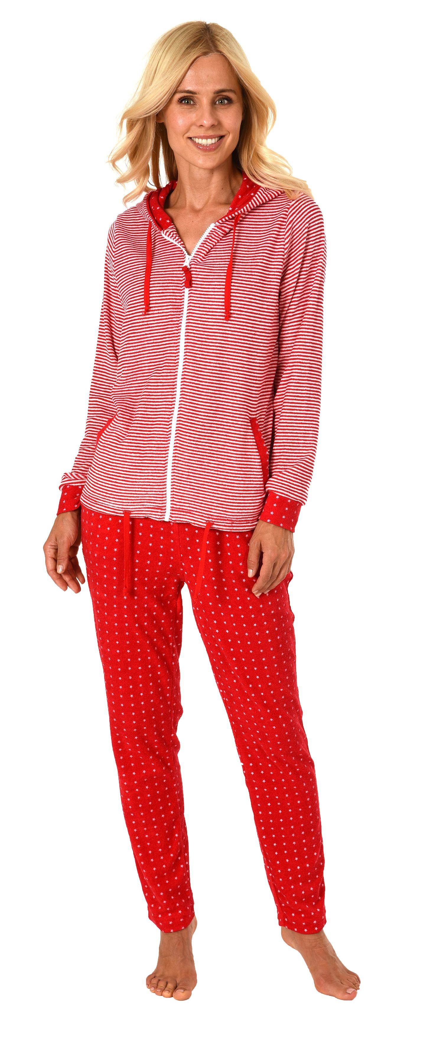Damen Frottee Hausanzug Sternedesign Homewear Loungewear – auch in Übergrössen bis 60/62 – Bild 1