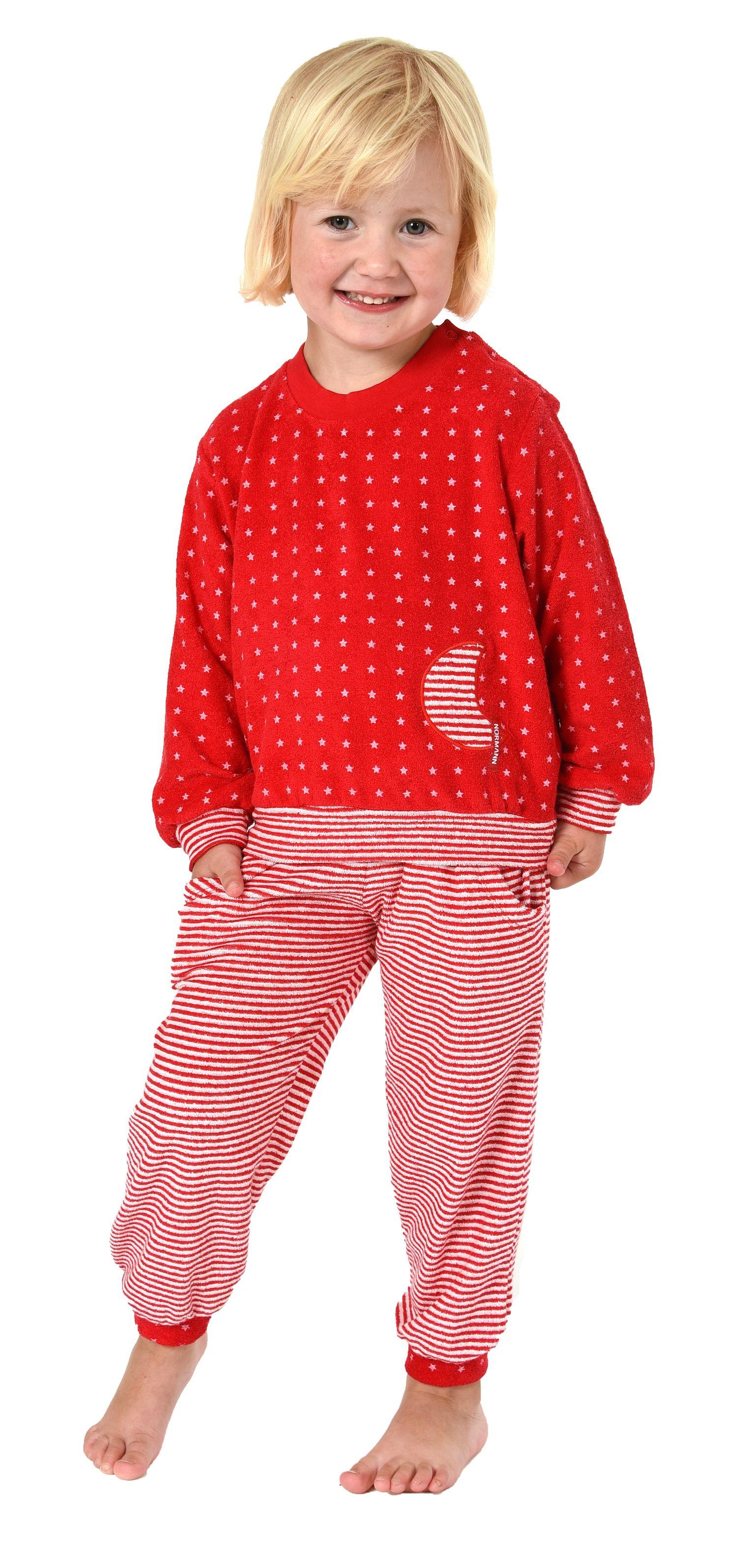 Mädchen Frottee Pyjama langarm mit Bündchen in Sterne Tupfen und Streifenoptik 86 - 110 – Bild 2