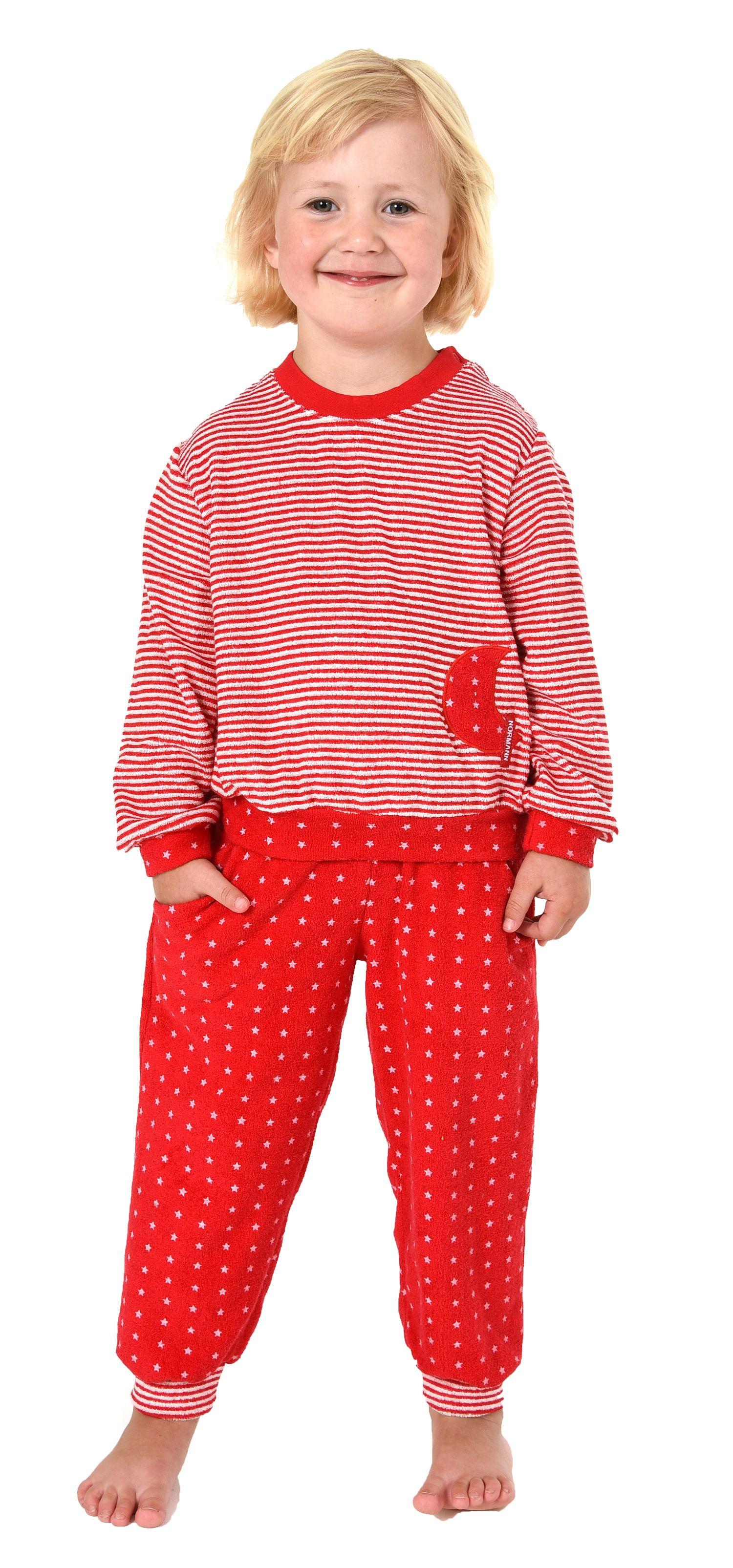 Mädchen Frottee Pyjama langarm mit Bündchen in Sterne Tupfen und Streifenoptik 86 - 110 – Bild 1