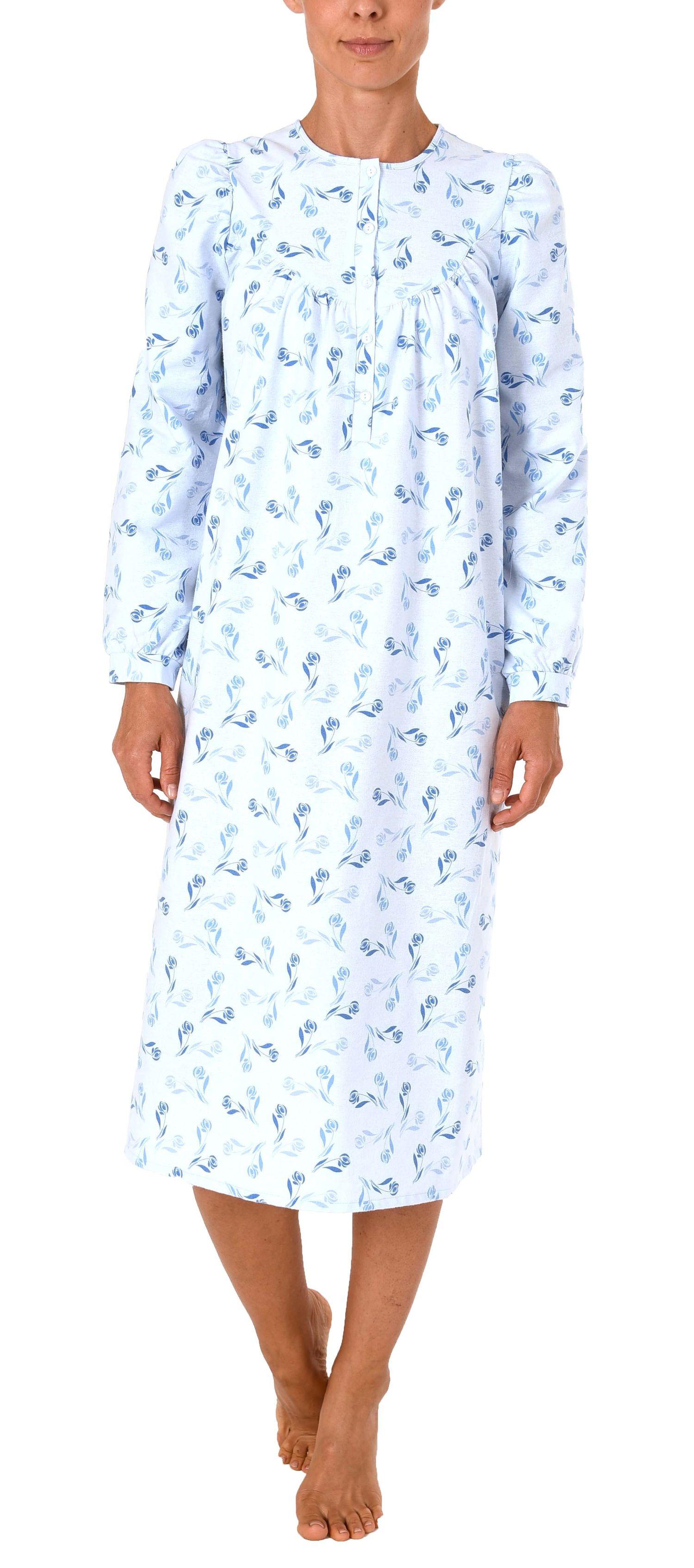 Damen Finette Nachthemd fraulich mit Knopfleiste am Hals – auch in Übergrössen – 61885