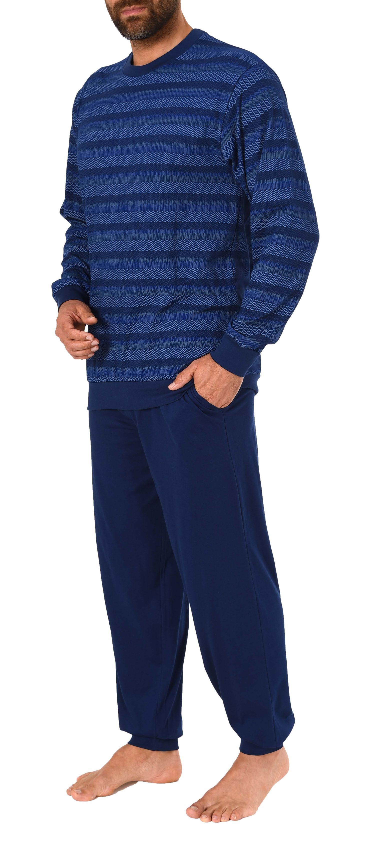 Edler Herren Pyjama Schlafanzug lang mit Bündchen – auch in Übergrössen – 281 101 90 455 – Bild 4