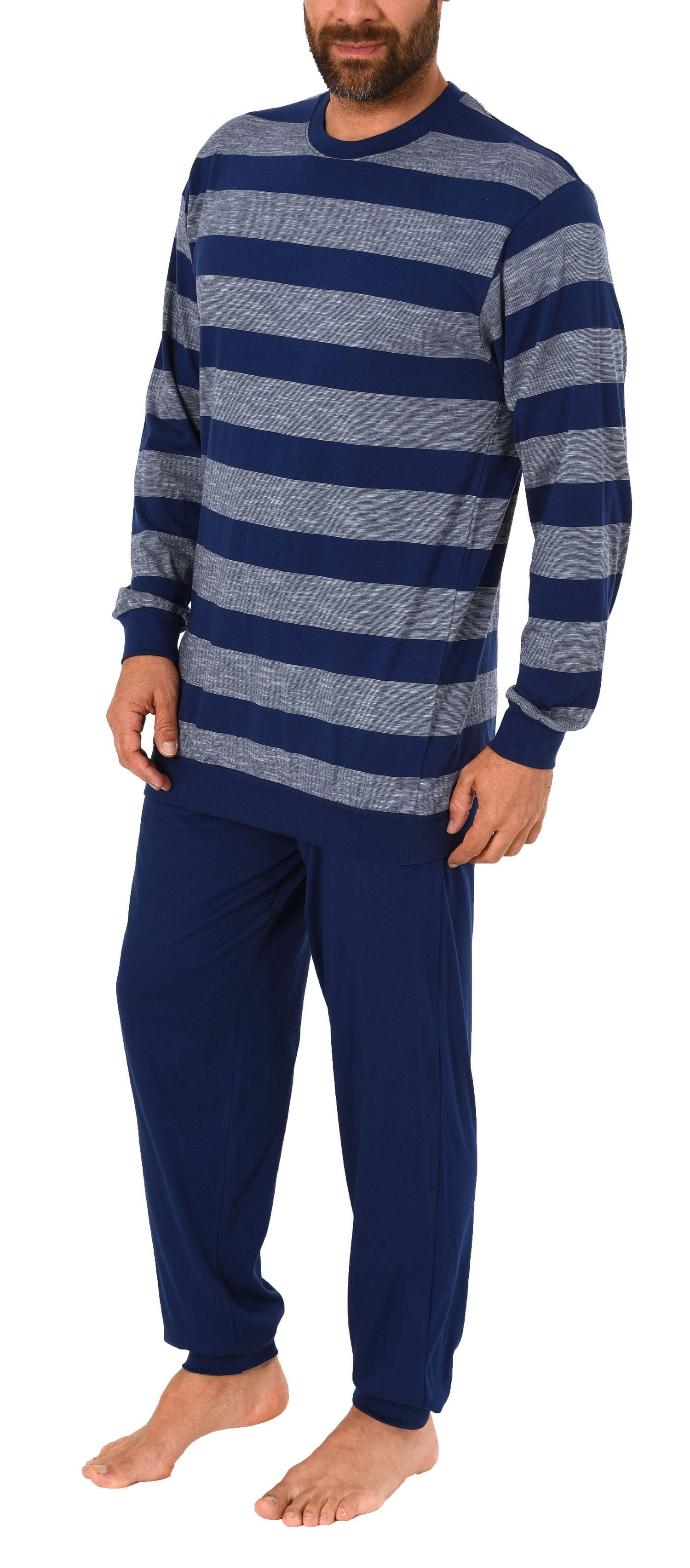 Eleganter Herren Pyjama Schlafanzug lang mit Bündchen in Streifenoptik – 281 101 90 486 – Bild 4