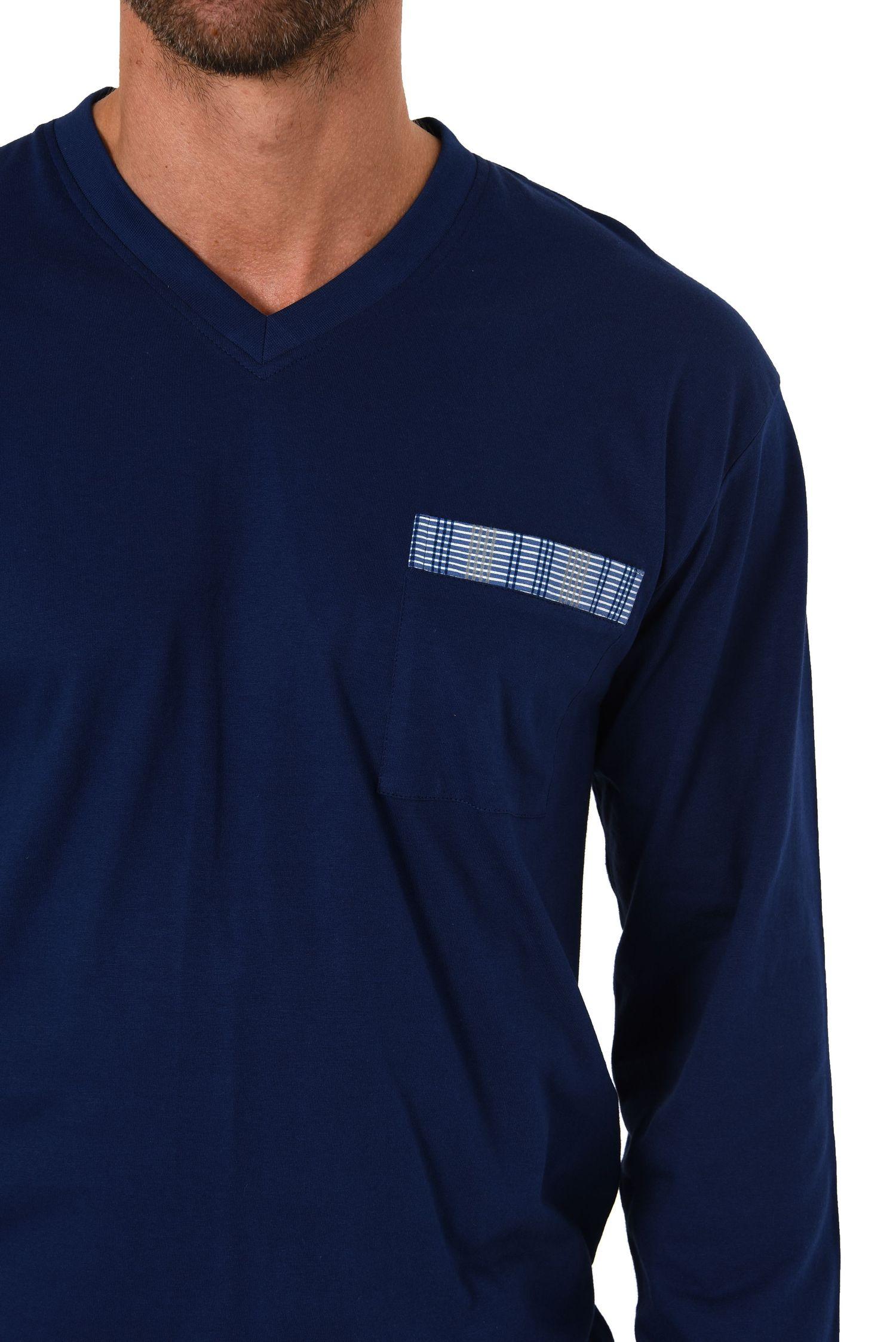 Herren Schlafanzug Pyjama mit Bündchen und Karo Hose - auch in Übergrössen 281 101 90 682 – Bild 5