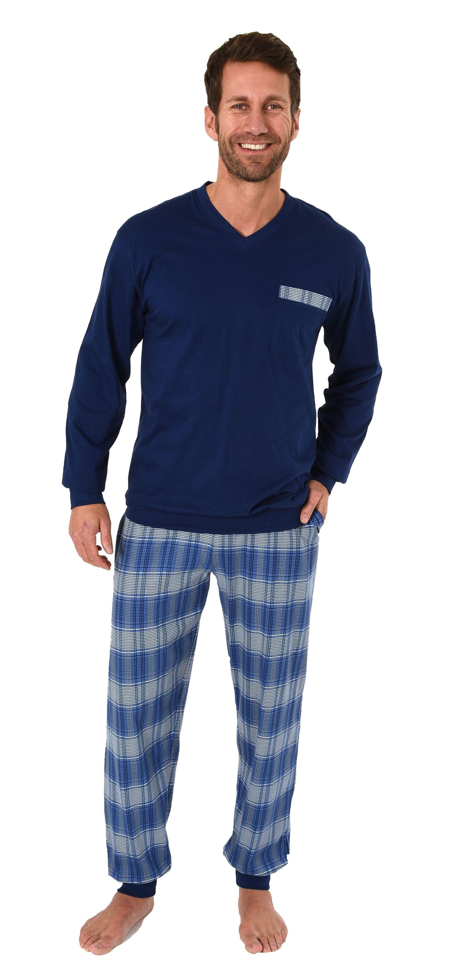 Herren Schlafanzug Pyjama mit Bündchen und Karo Hose - auch in Übergrössen 281 101 90 682 – Bild 1