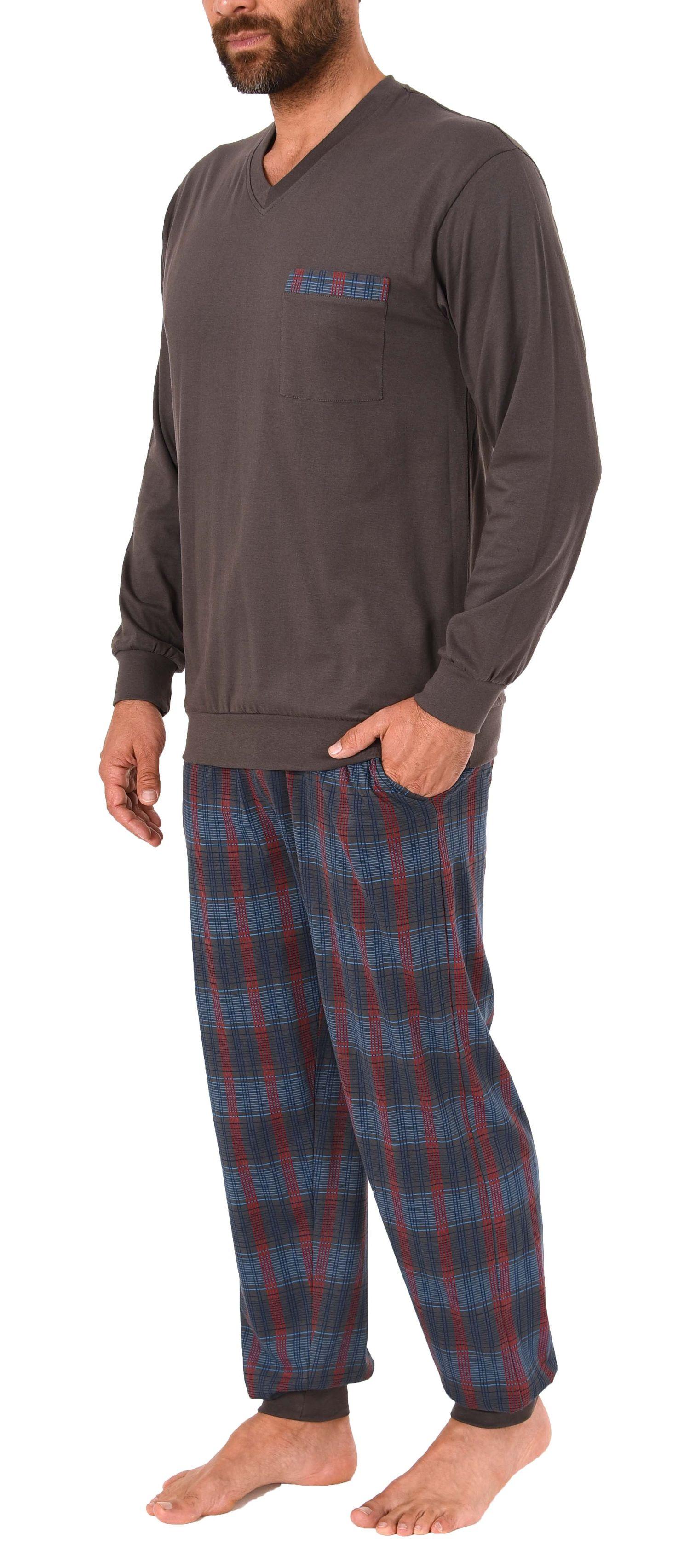 Herren Schlafanzug Pyjama mit Bündchen und Karo Hose - auch in Übergrössen 281 101 90 682 – Bild 4
