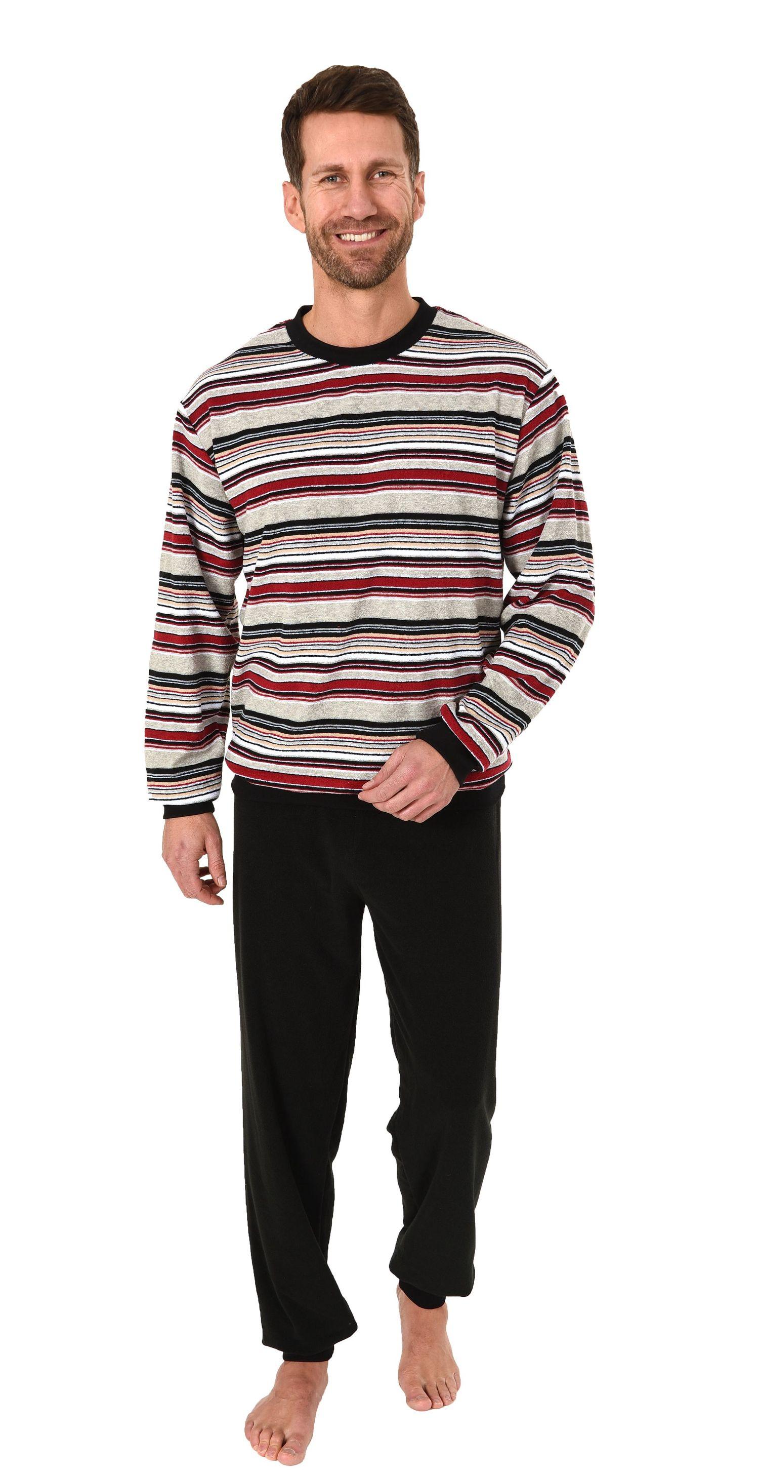 Eleganter Herren Frottee Pyjama Schlafanzug mit Bündchen, auch in Übergrößen - 281 101 93 003