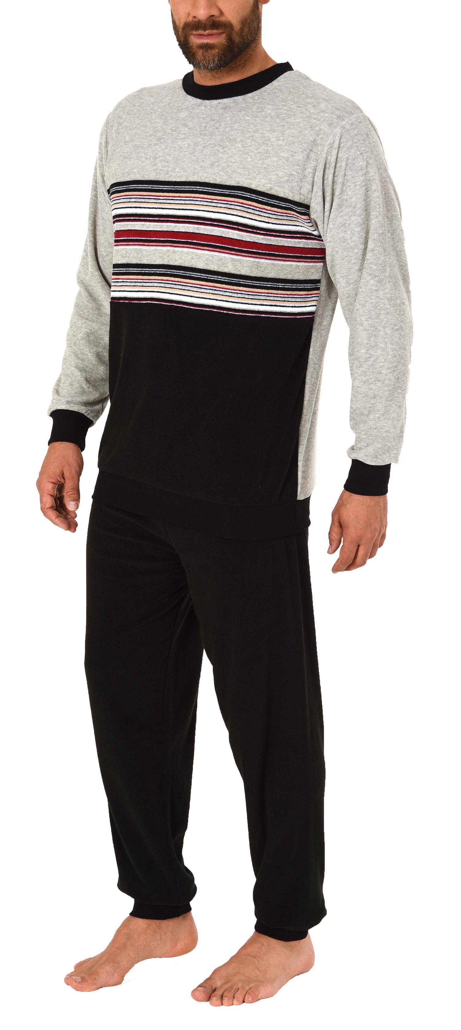 Eleganter Herren Frottee, Pyjama Schlafanzug mit Bündchen, auch in Übergrößen - 281 101 93 004