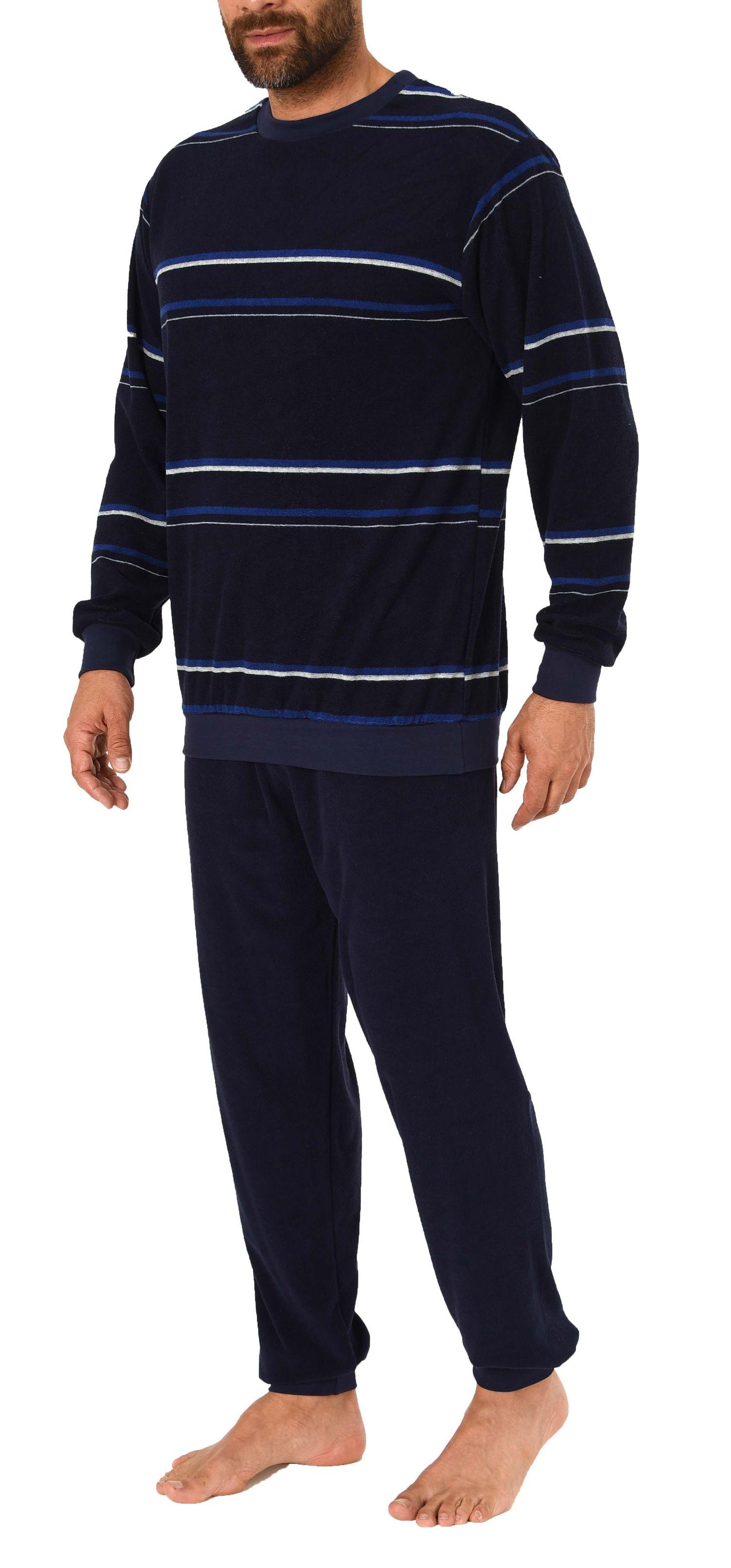 Eleganter Herren Frottee Pyjama Schlafanzug mit Bündchen, auch in Übergrößen - 281 101 93 708