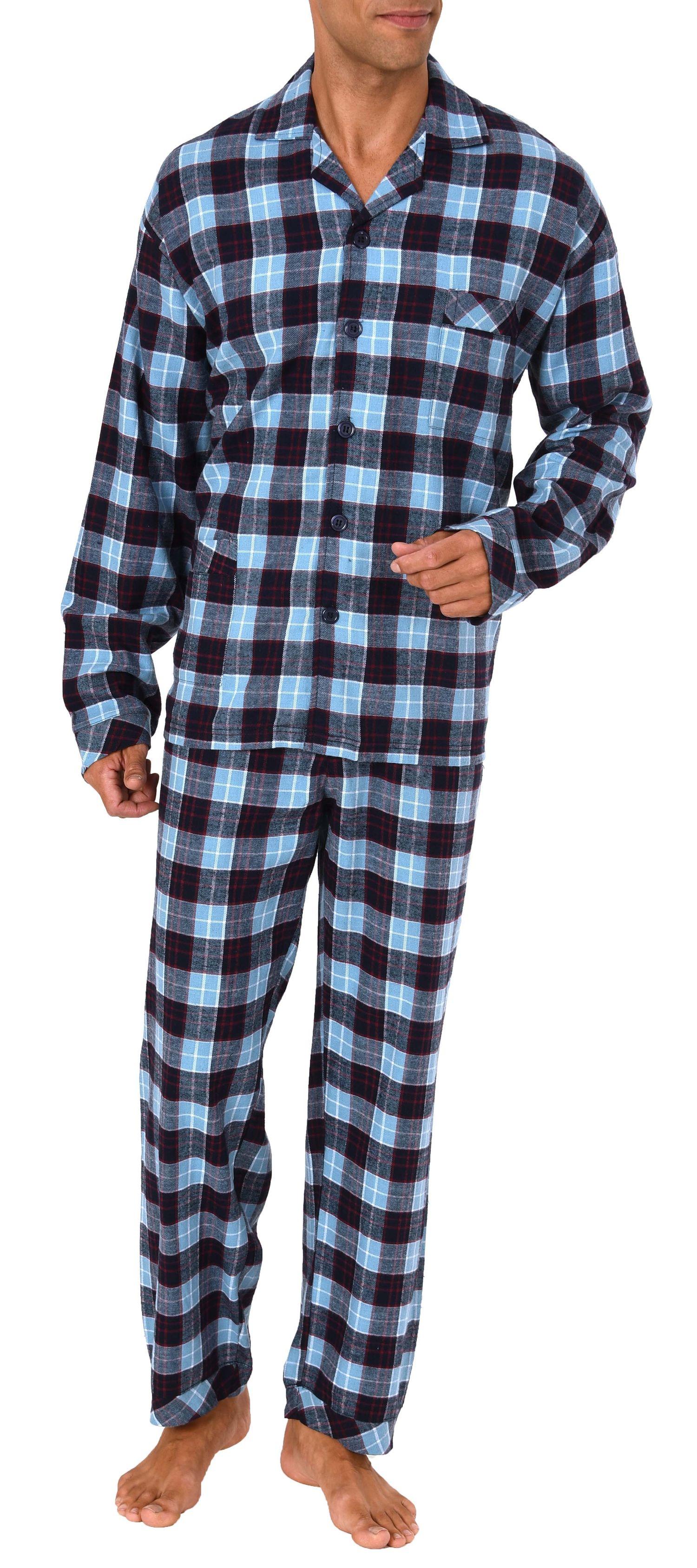 Herren Flanell Pyjama Schlafanzug zum durchknöpfen - auch in Übergrössen 281 101 95 651 – Bild 1