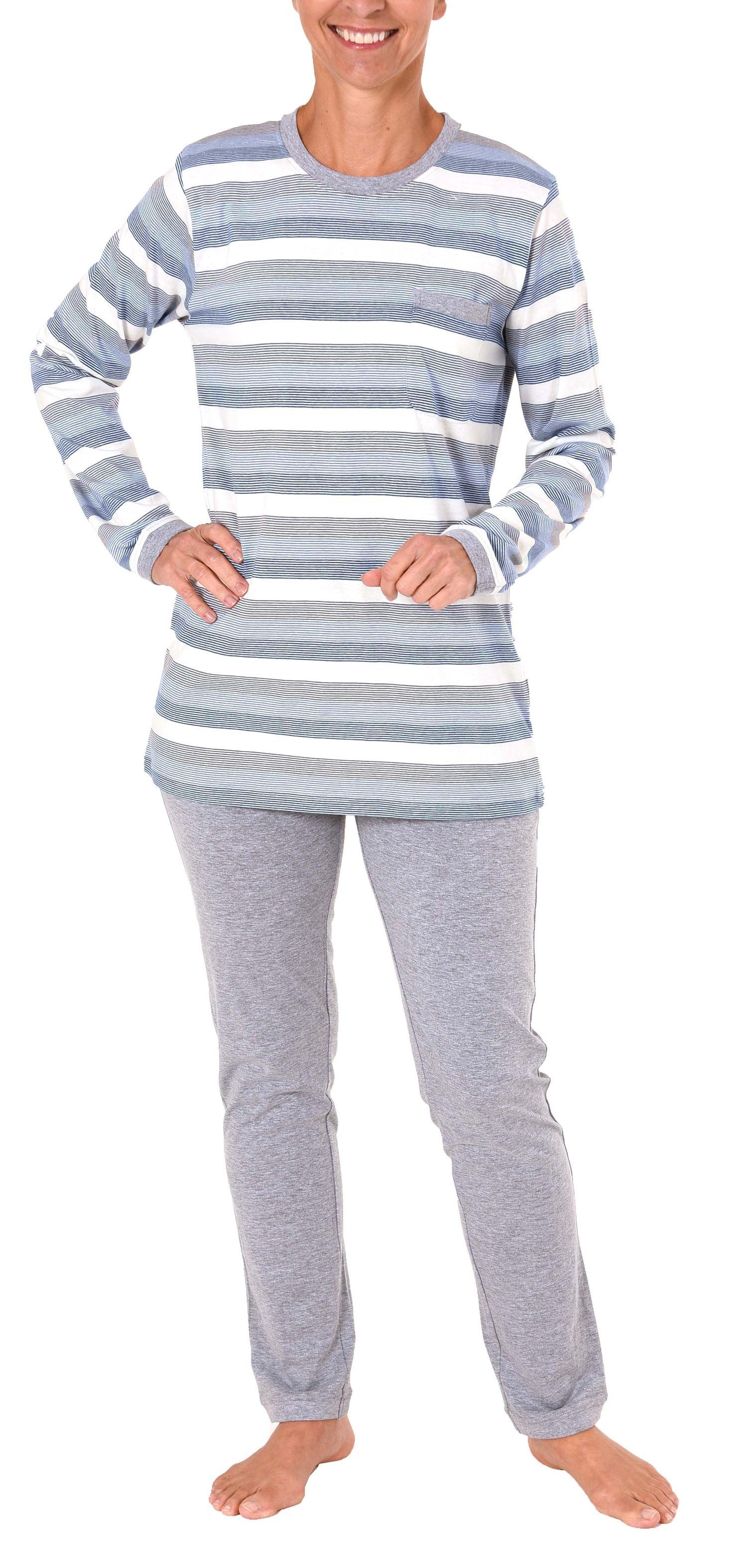 Toller Damen Pyjama langarm - auch in Übergrössen - wunderschöne Block Streifen Optik  – Bild 2