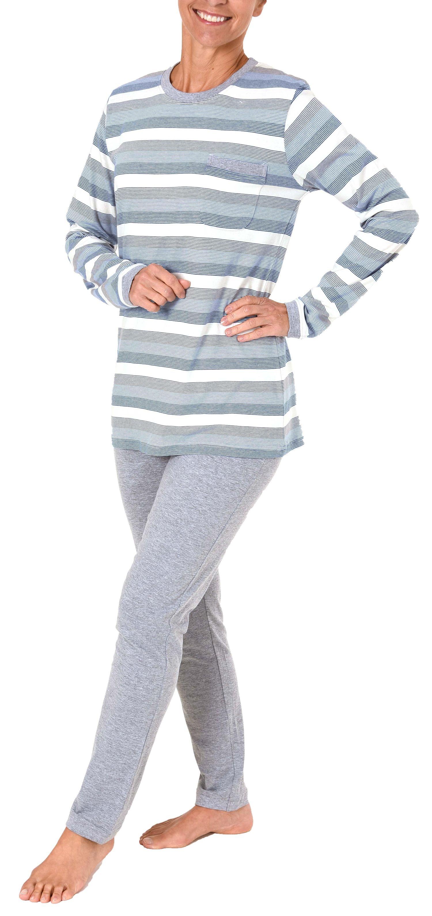 Toller Damen Pyjama langarm - auch in Übergrössen - wunderschöne Block Streifen Optik  – Bild 3