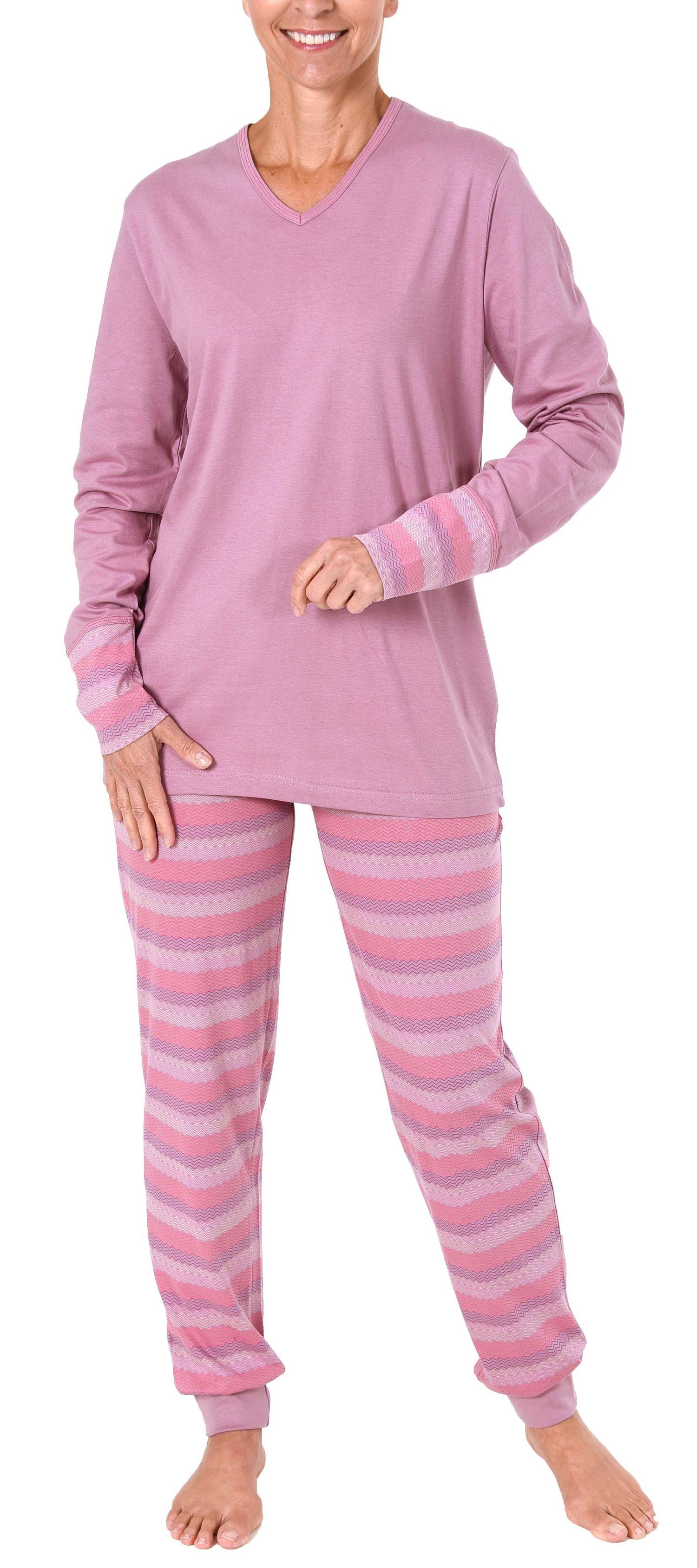 Cooler Damen Pyjama lang mit Bündchen - auch in Übergrössen bis 60/62 - 281 201 90 106 – Bild 2