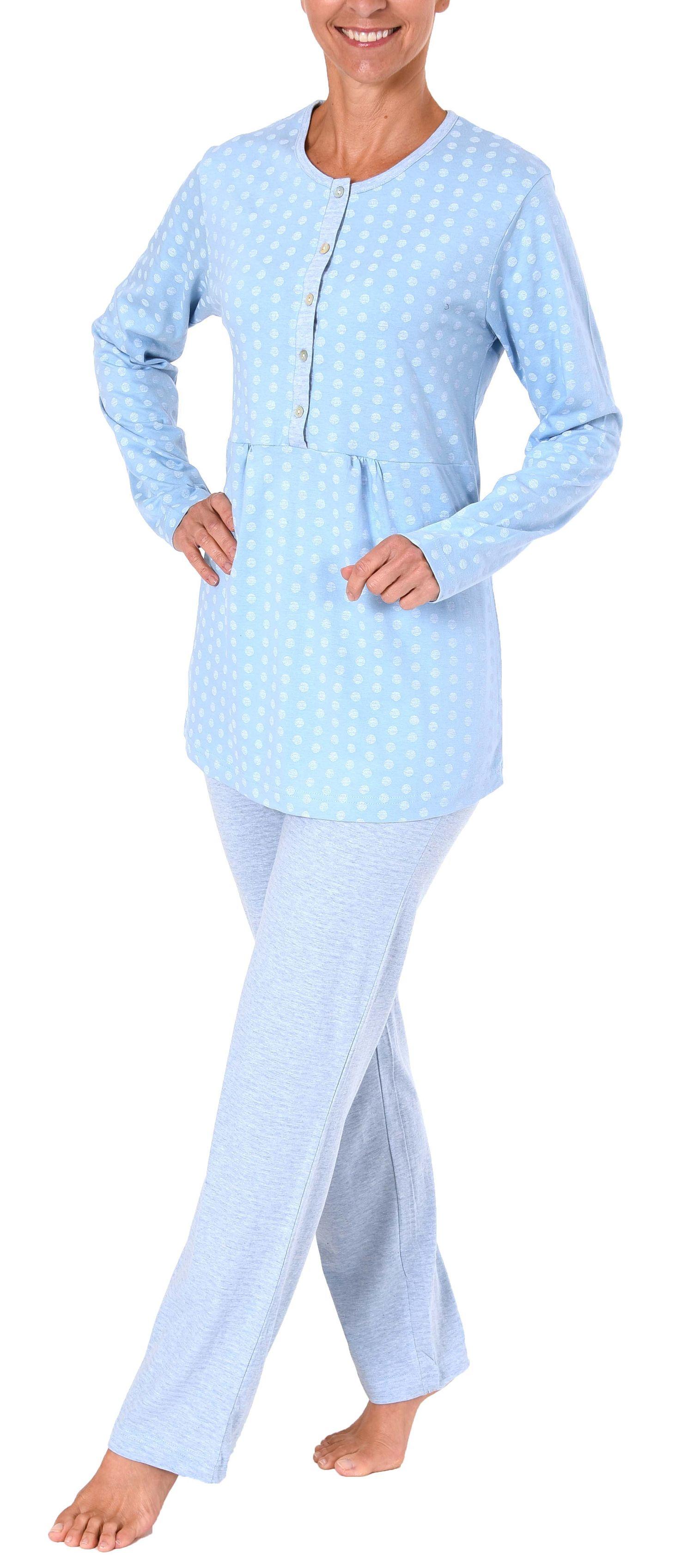 Damen Pyjama in Tupfenoptik - extra lange Knopfleiste - auch als Stillpyjama geeignet 281 201 90 130 – Bild 4
