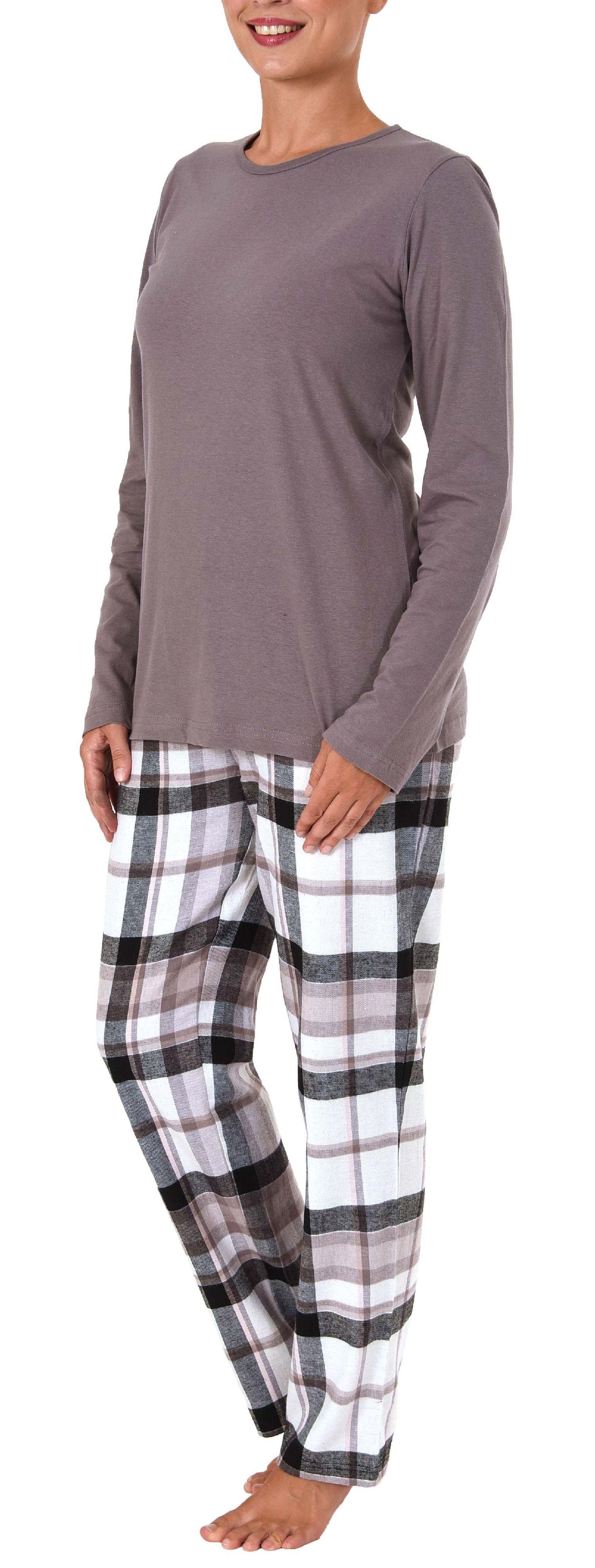 Damen Flanell Pyjama Mix & Match Hose Flanell, Top Single Jersey - auch in Übergrössen – Bild 3