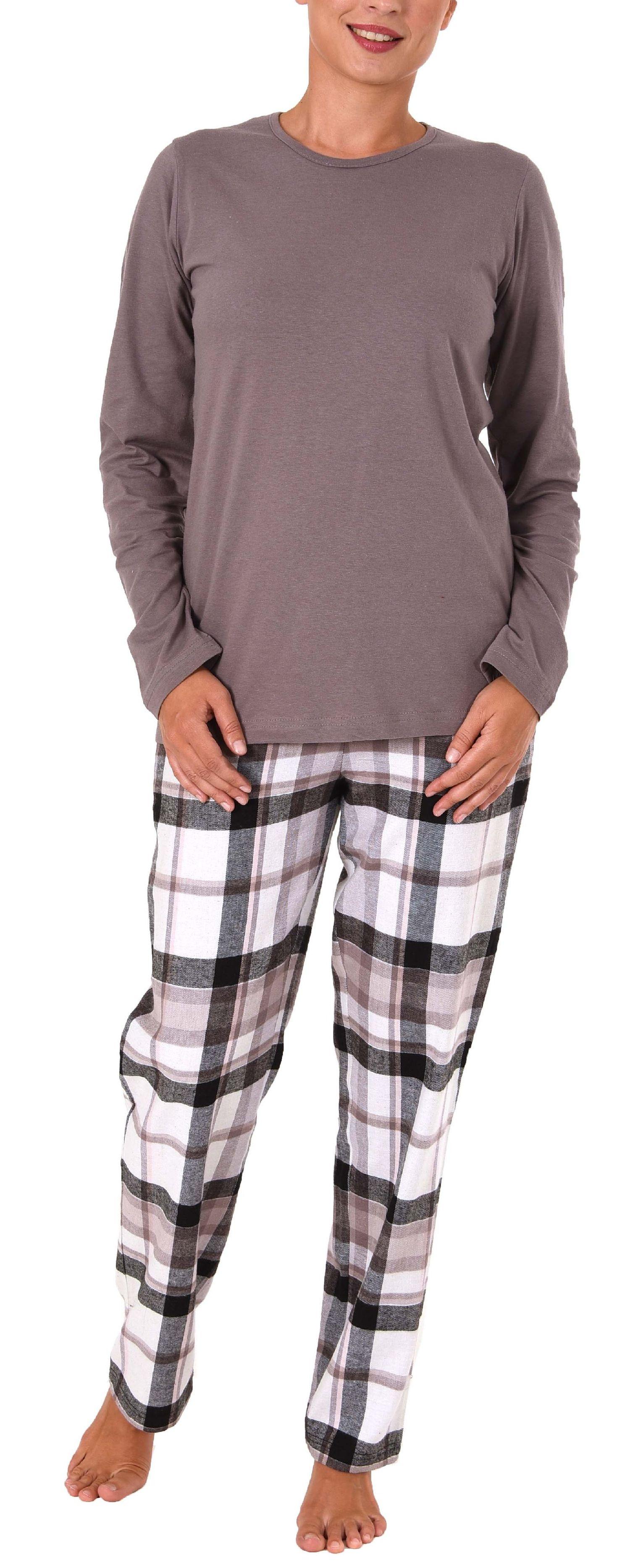Damen Flanell Pyjama Mix & Match Hose Flanell, Top Single Jersey - auch in Übergrössen – Bild 2