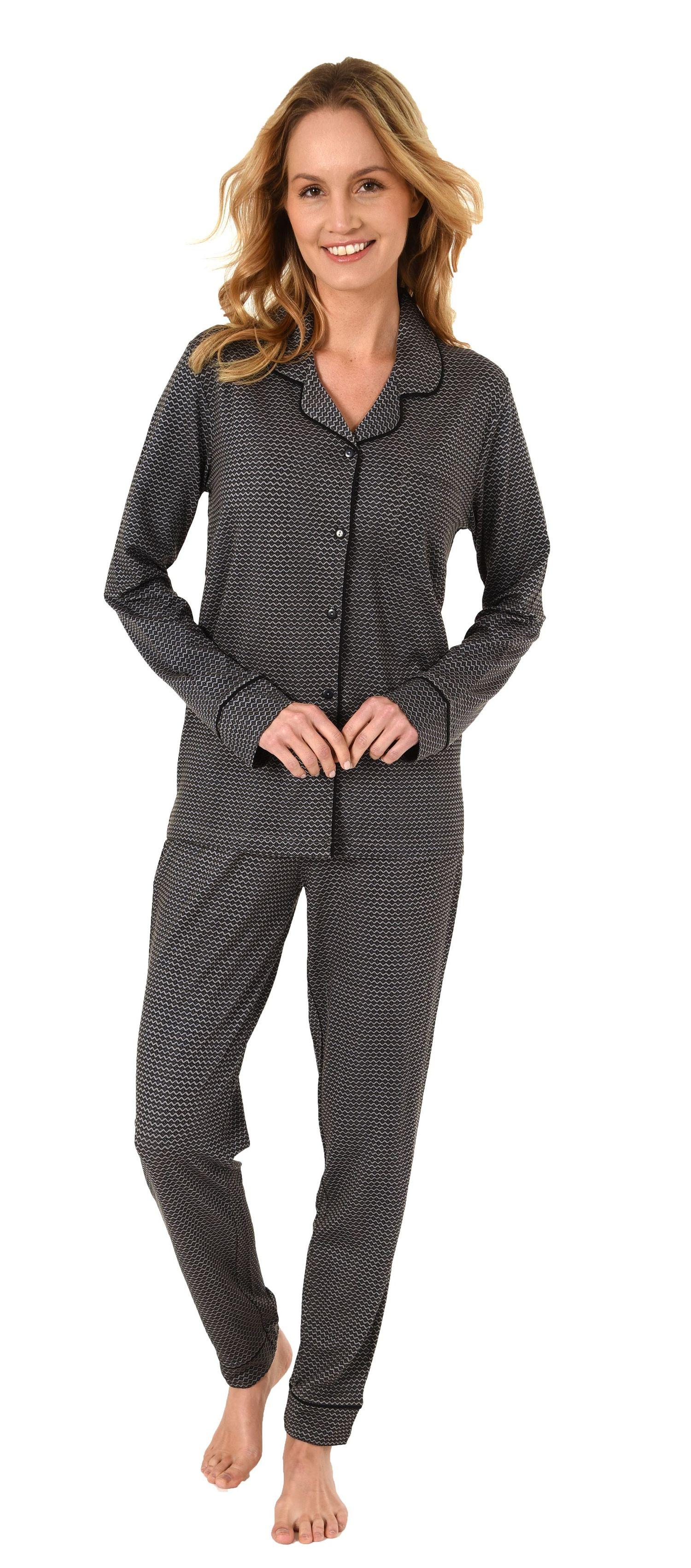 online store 678df ea07a Edler Damen Pyjama, Schlafanzug langarm zum Knöpfen in Single Jersey - 281  201 90 350