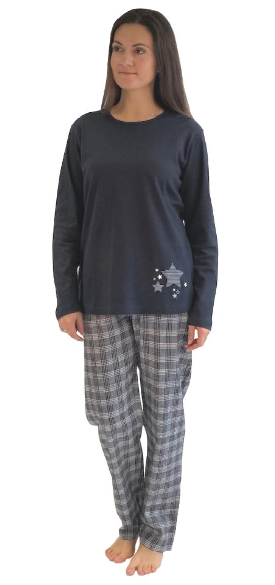 size 40 f5168 1c115 Damen Flanell Pyjama Mix & Match - Oberteil mit Sterne ...