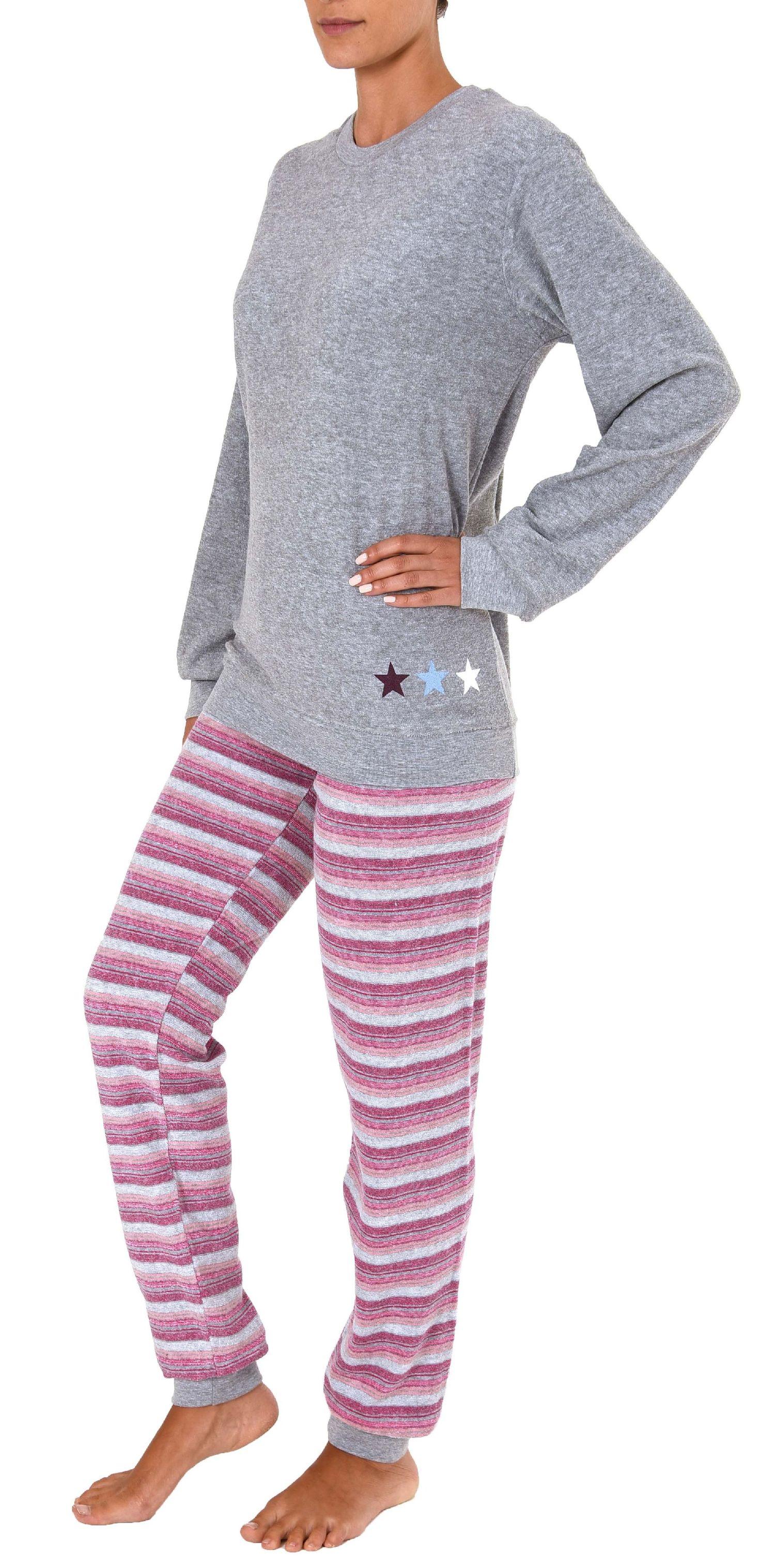 huge discount 0498d 40944 Damen Frottee Pyjama Schlafanzug langarm mit Bündchen und Sterne Motiv -  281 201 03 001