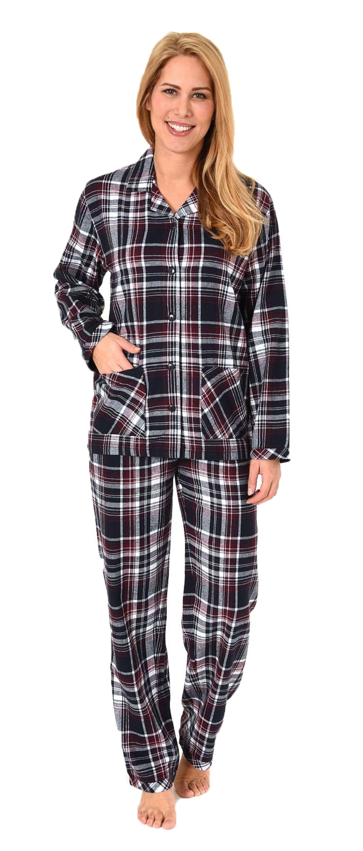 Damen Flanell Pyjama Schlafanzug kariert –- auch in Übergrössen - 281 201 95 247