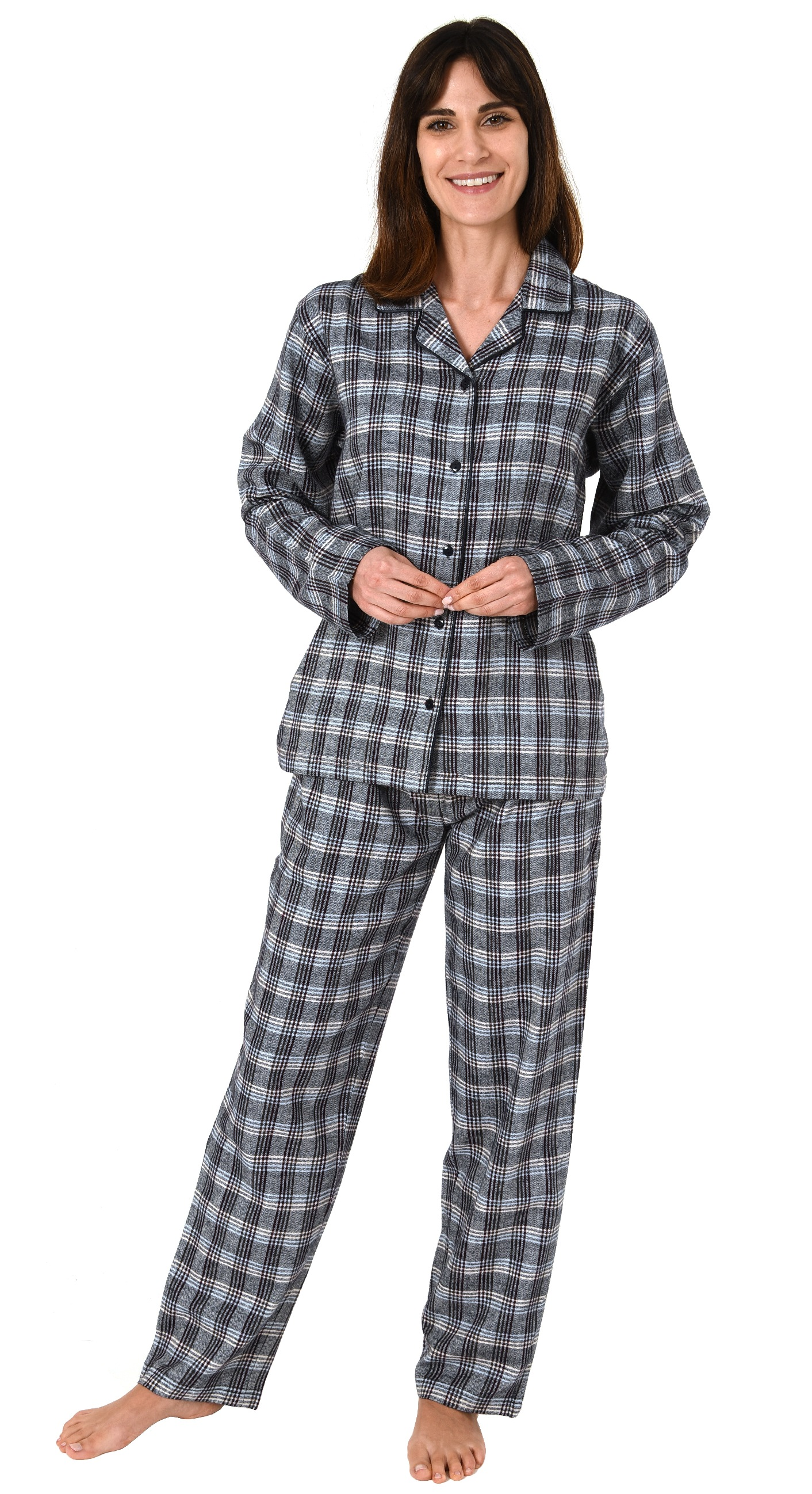 buy popular 4c2b4 d375e Damen Flanell Pyjama Schlafanzug langarm kariert – auch in Übergrößen 281  201 95 991