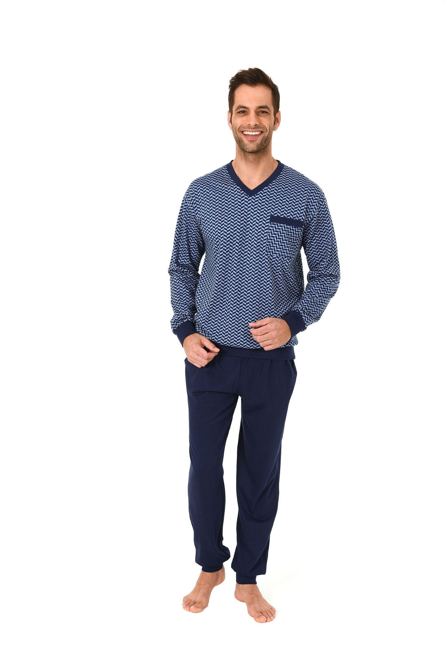 Edler Herren Pyjama Schlafanzug langarm mit Bündchen 61699